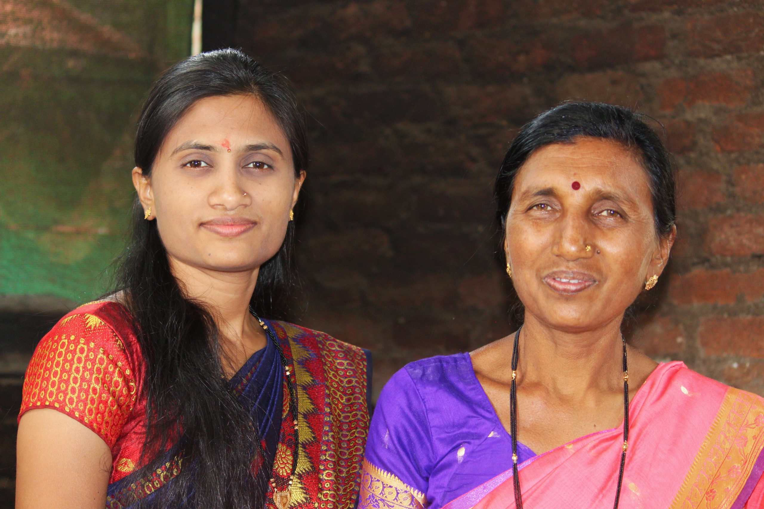 A girl with her mother