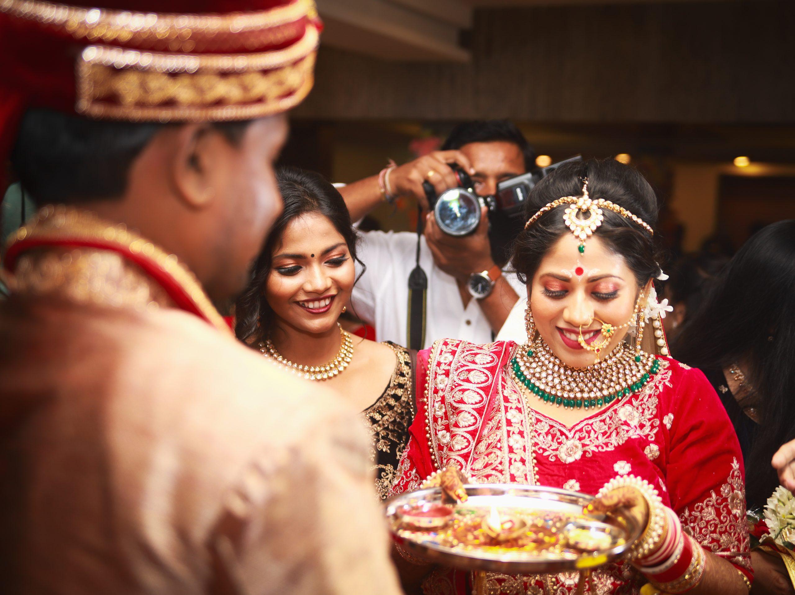 A ritual in Hindu marriage