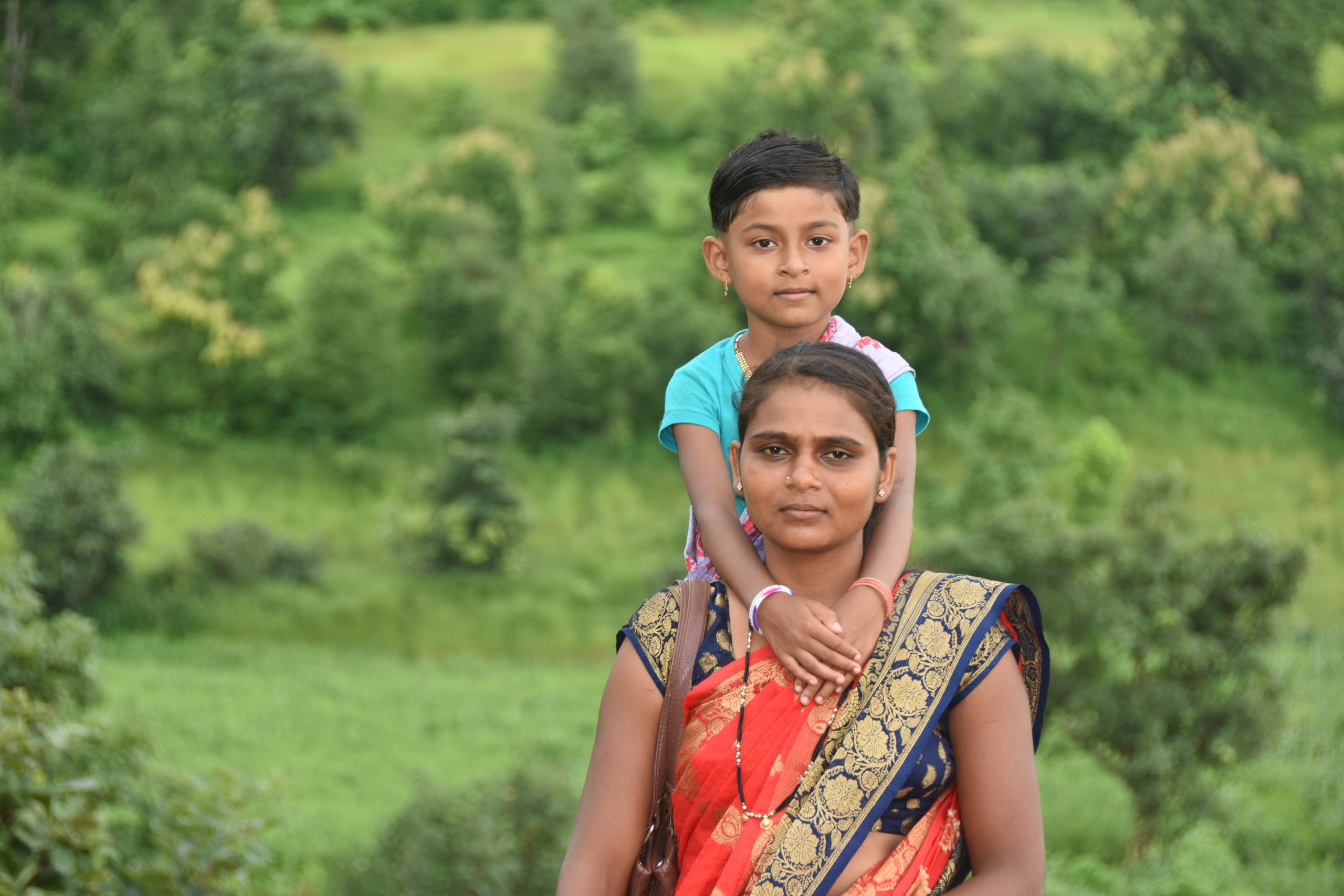 A woman with her son