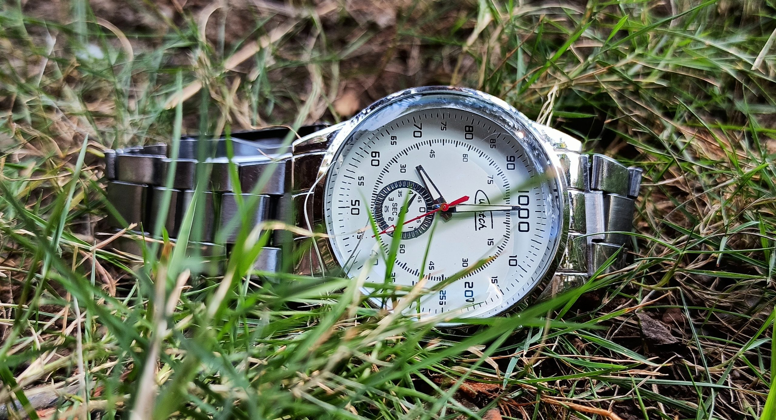 A wrist watch fall on grass