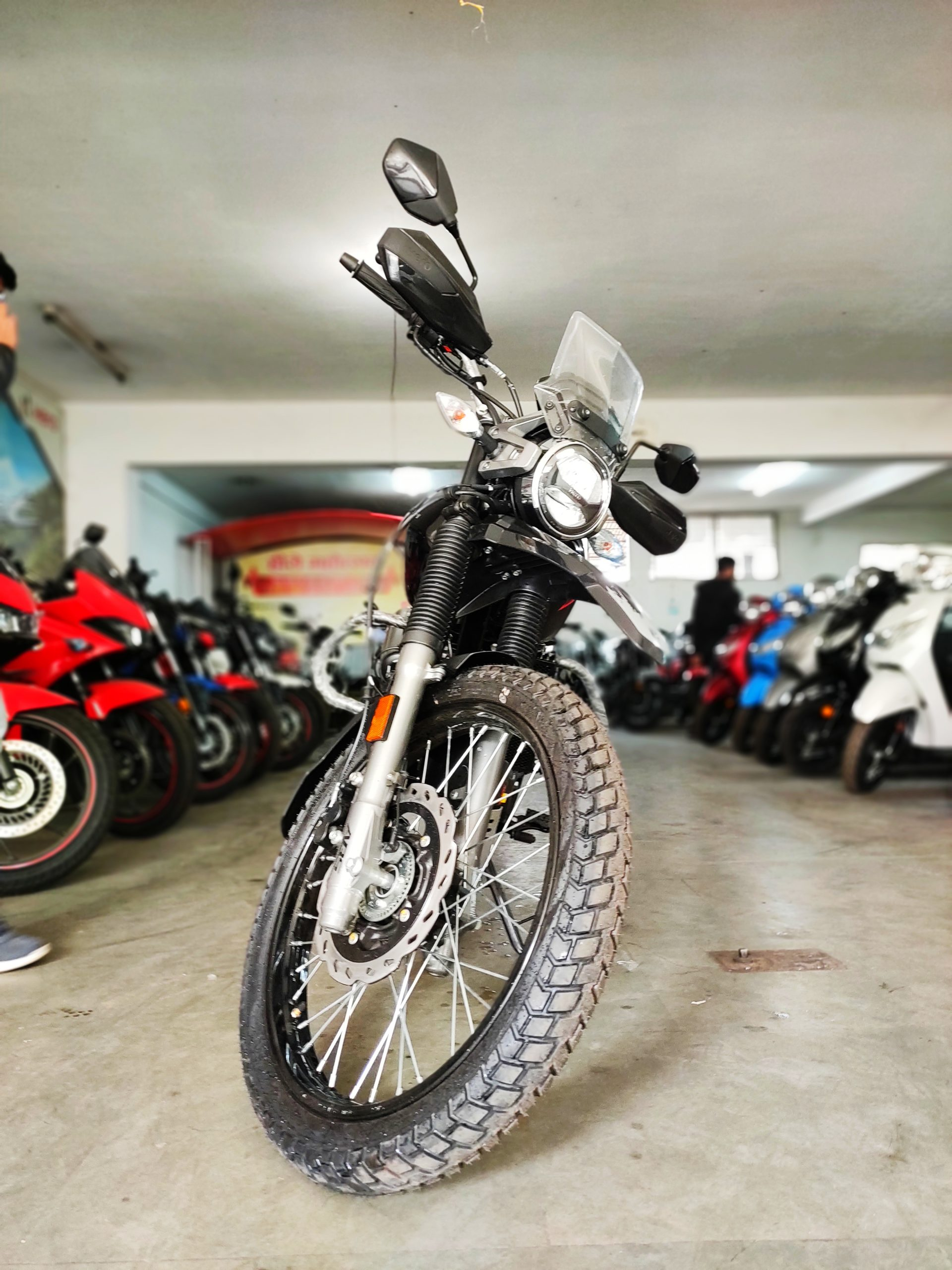 An adventures bike in the bike show room