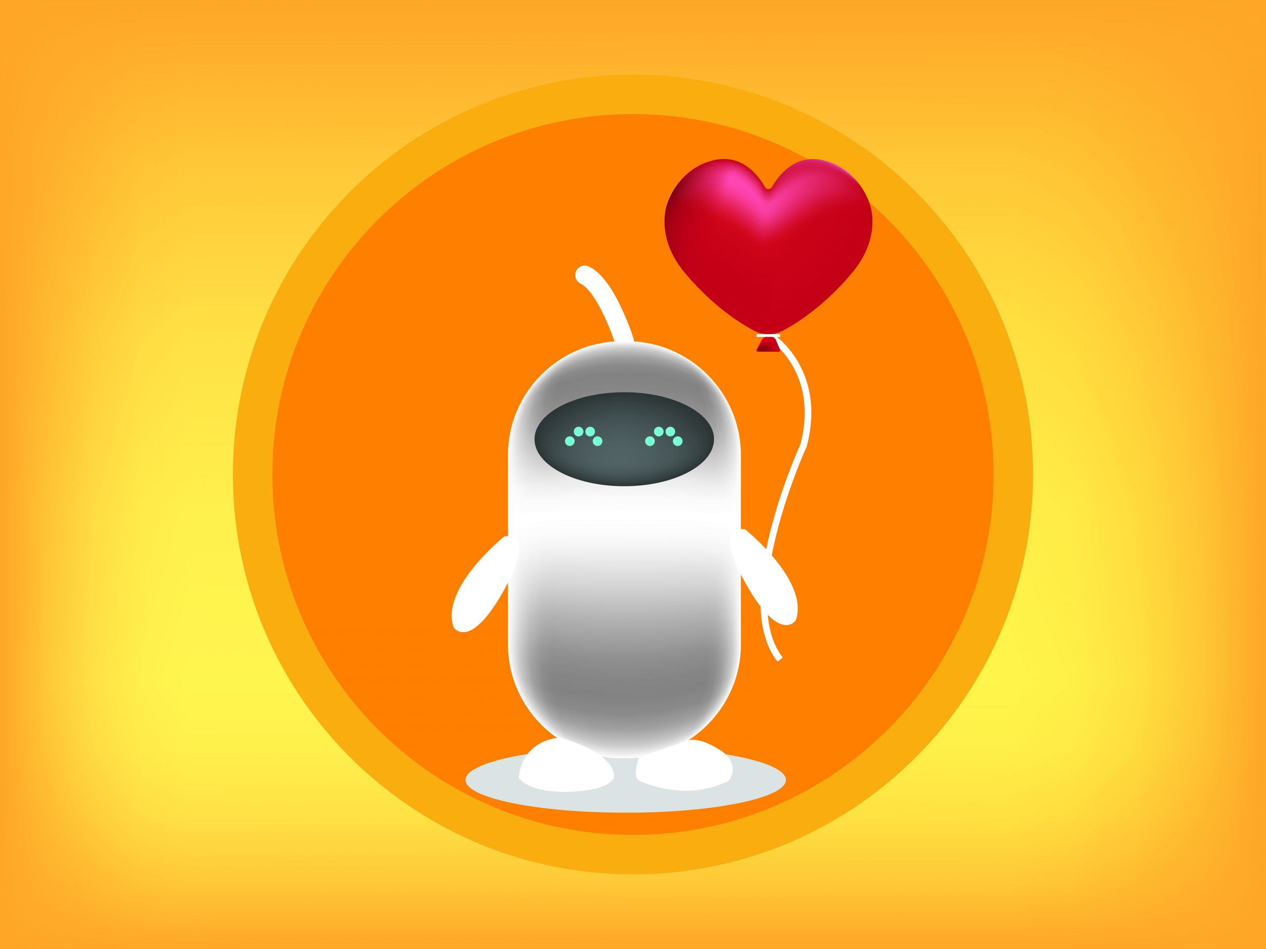 Animated Robot holding heart shape balloon