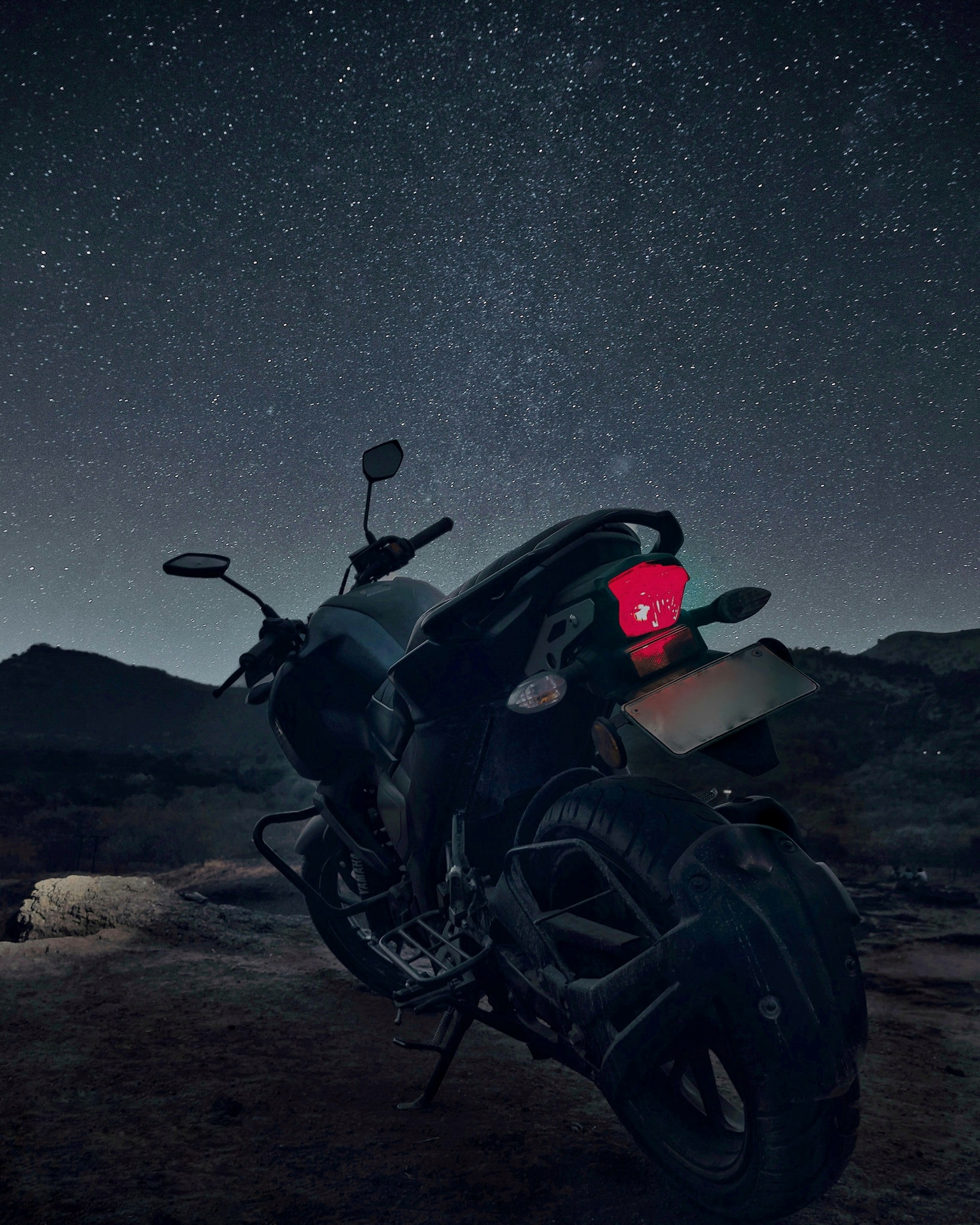 Bike under the night sky