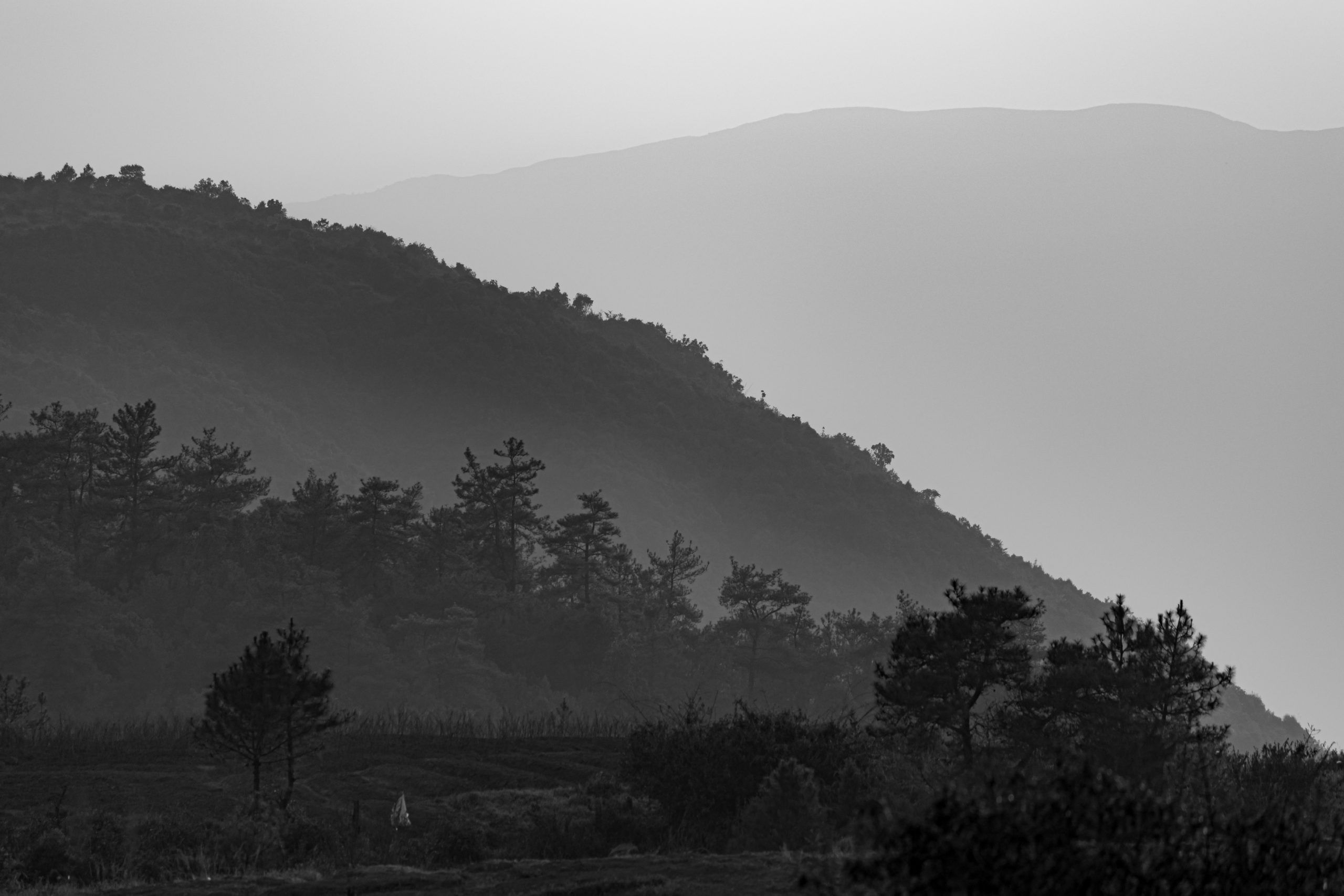 Black and white landscape of mountains