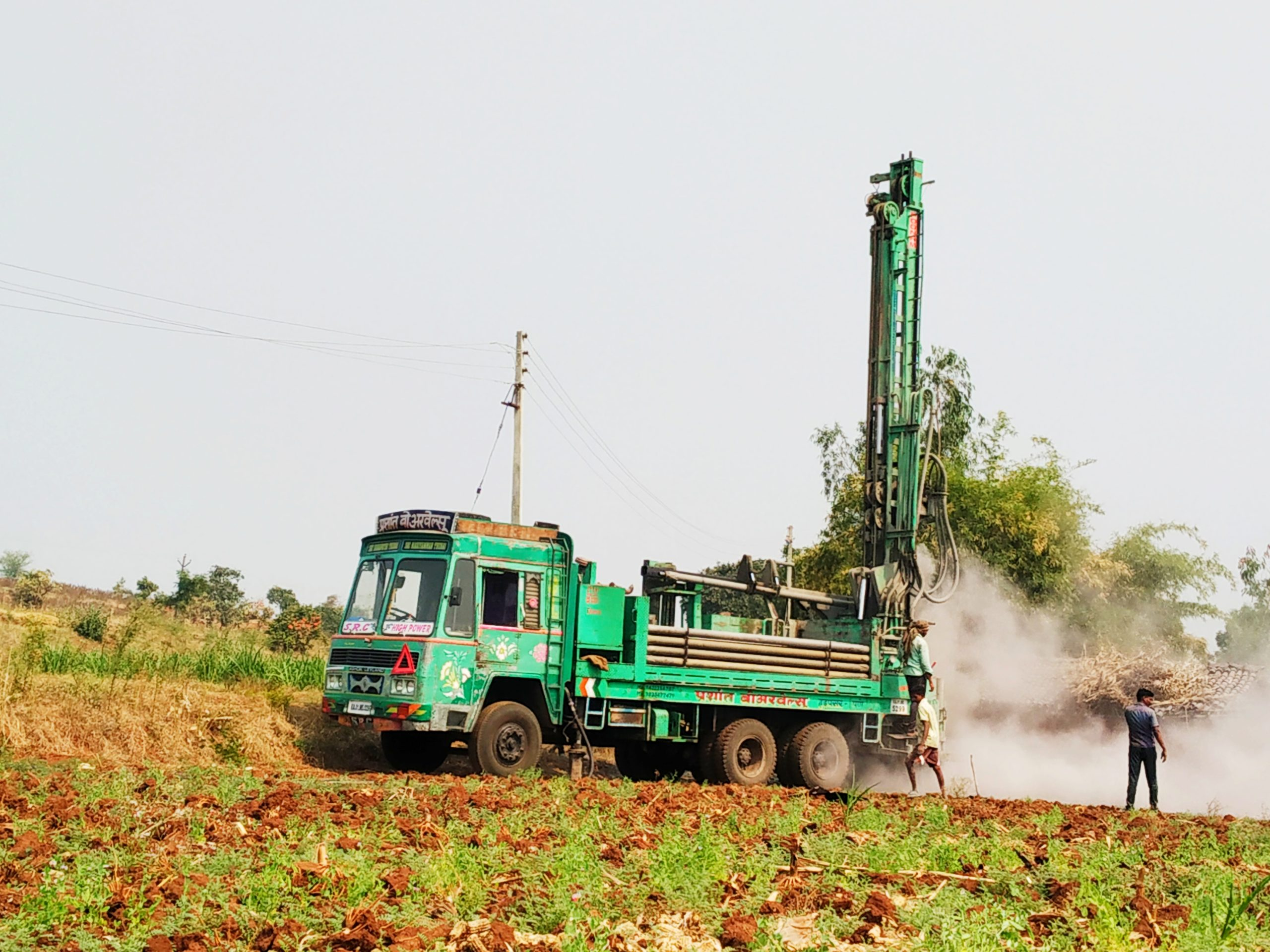 A borewell drilling machine vehicle