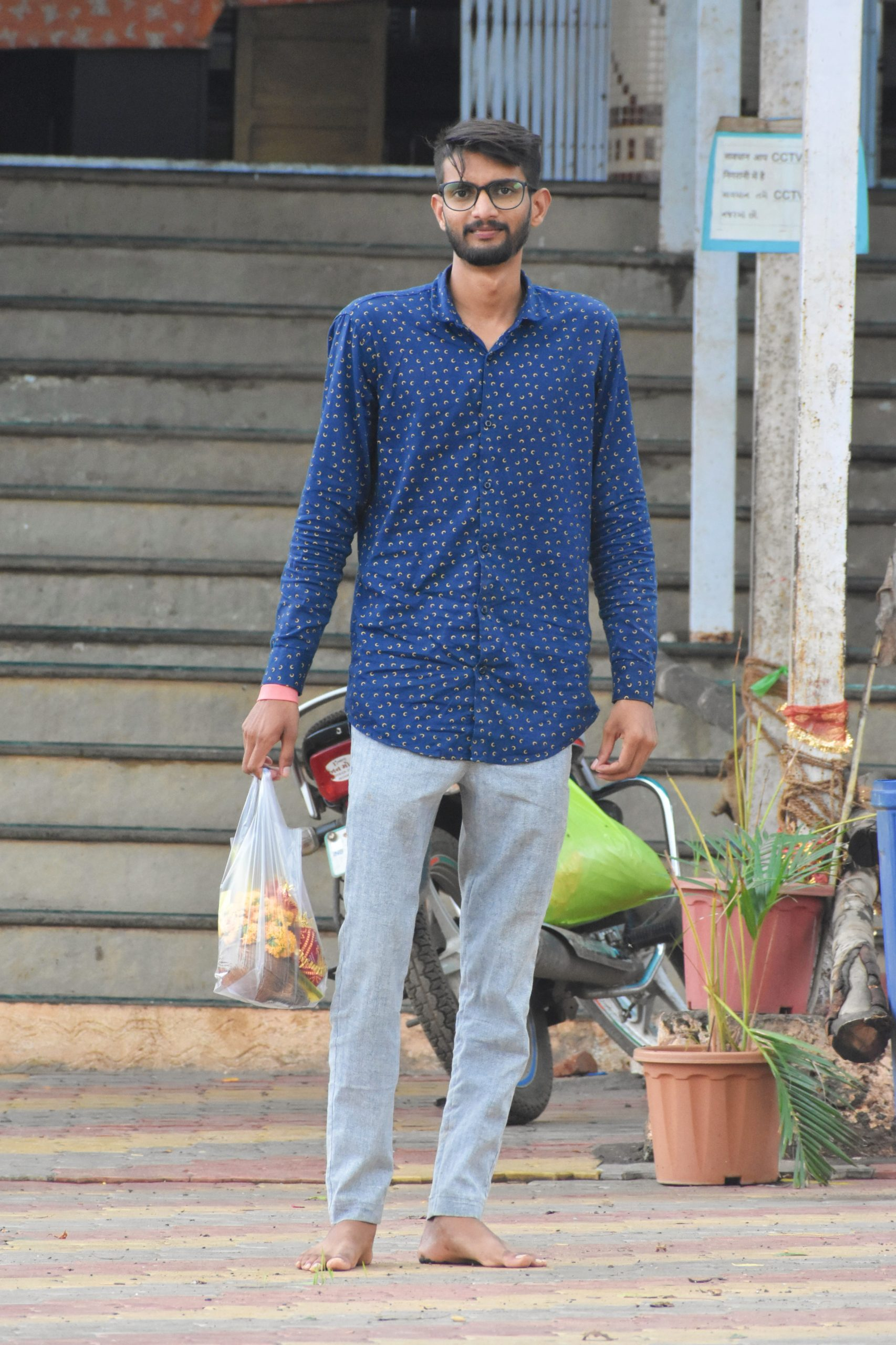 A boy with a carry bag
