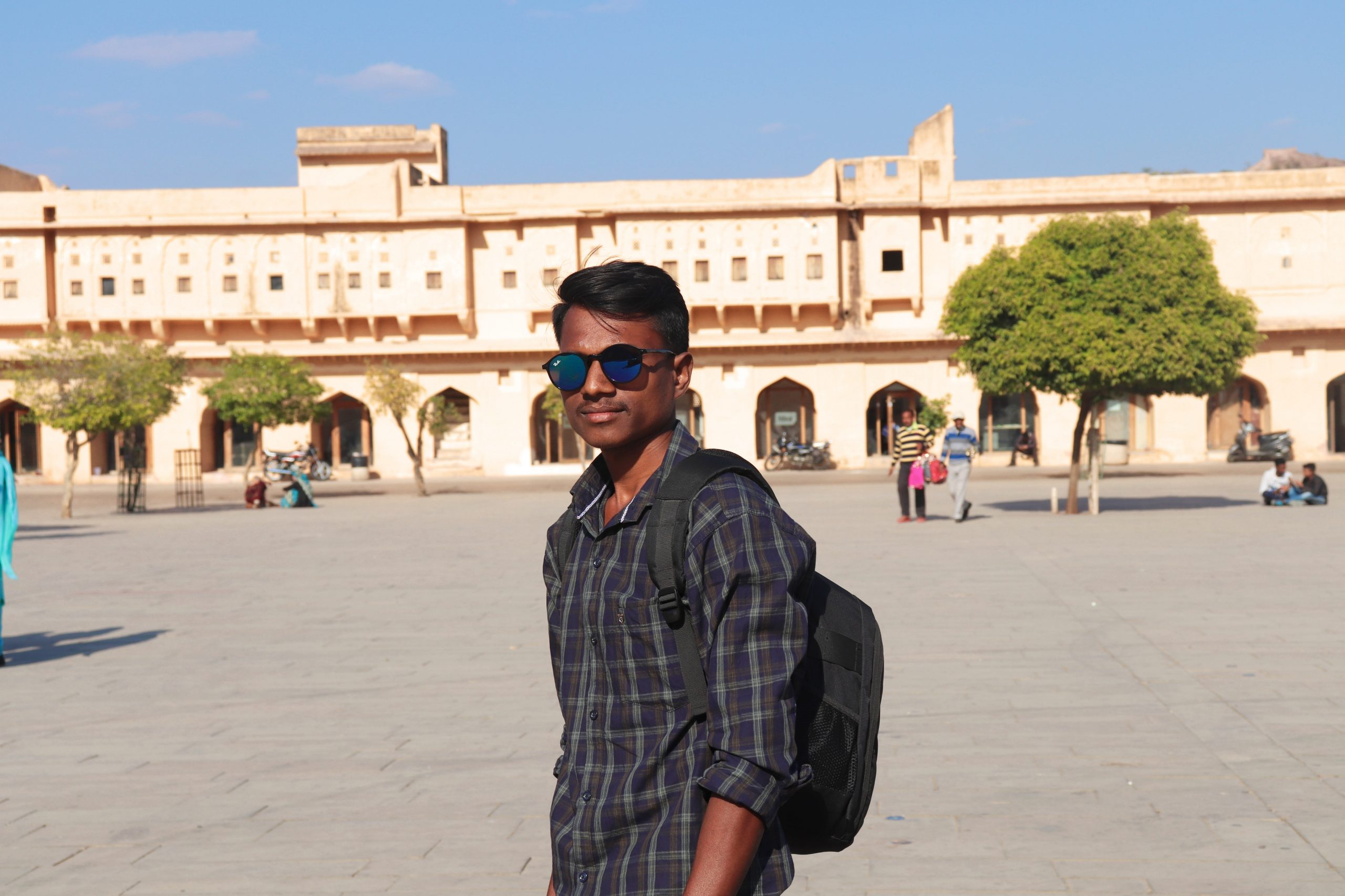 Boy posing in front of fort