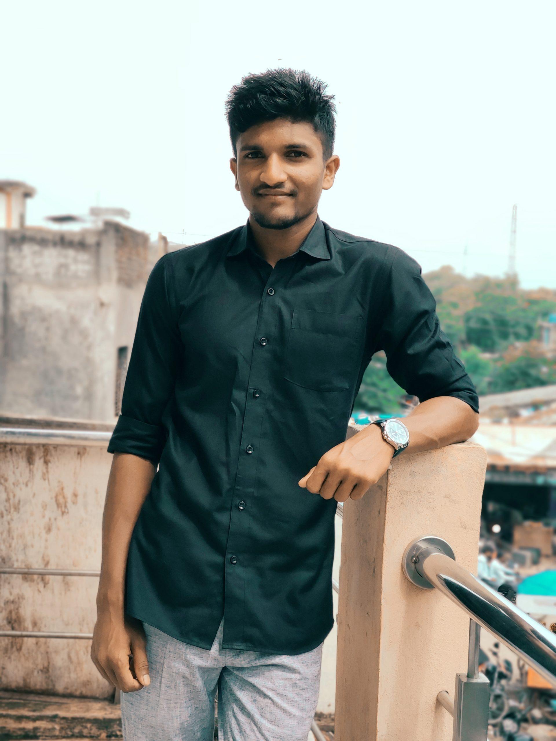 Boy posing on roof