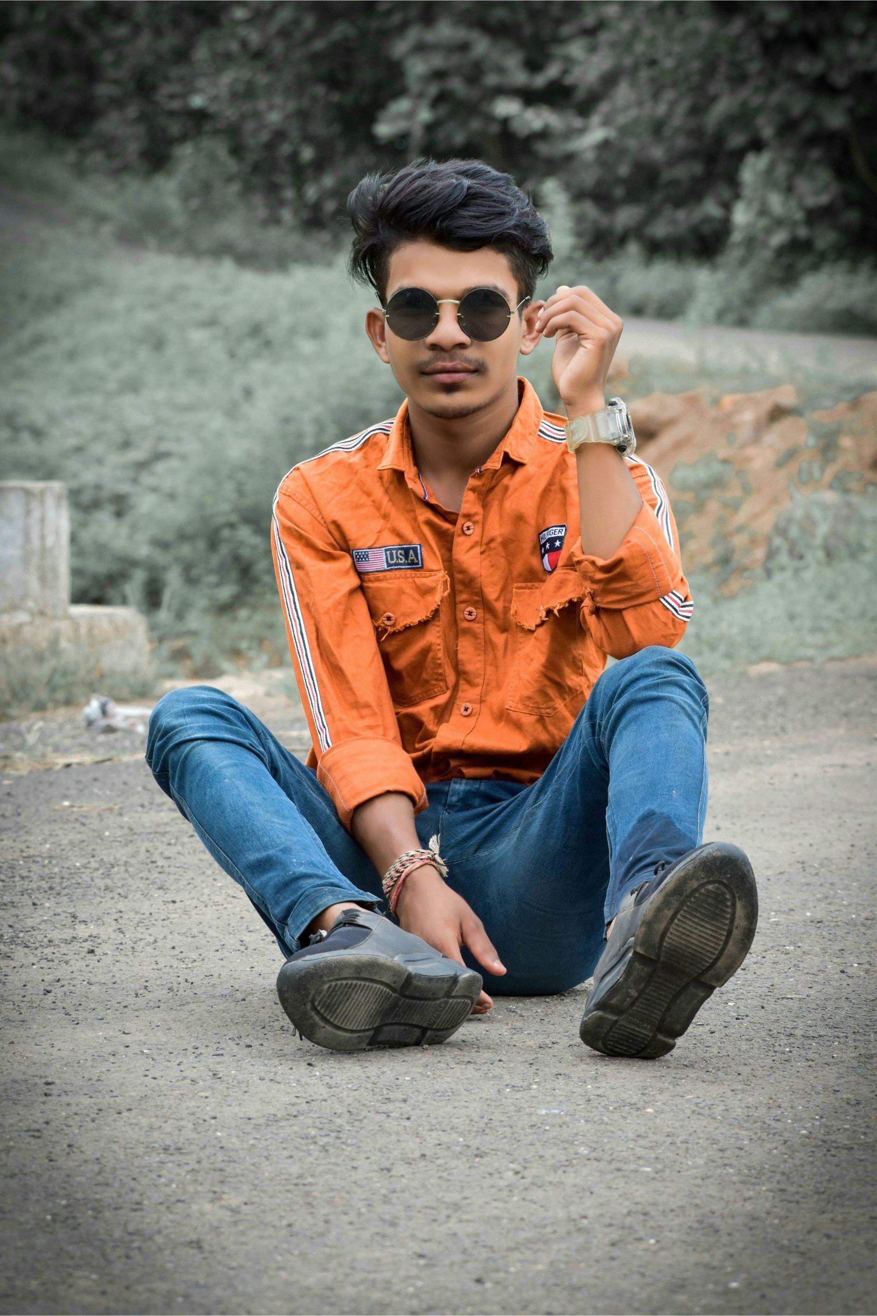 Boy posing on street
