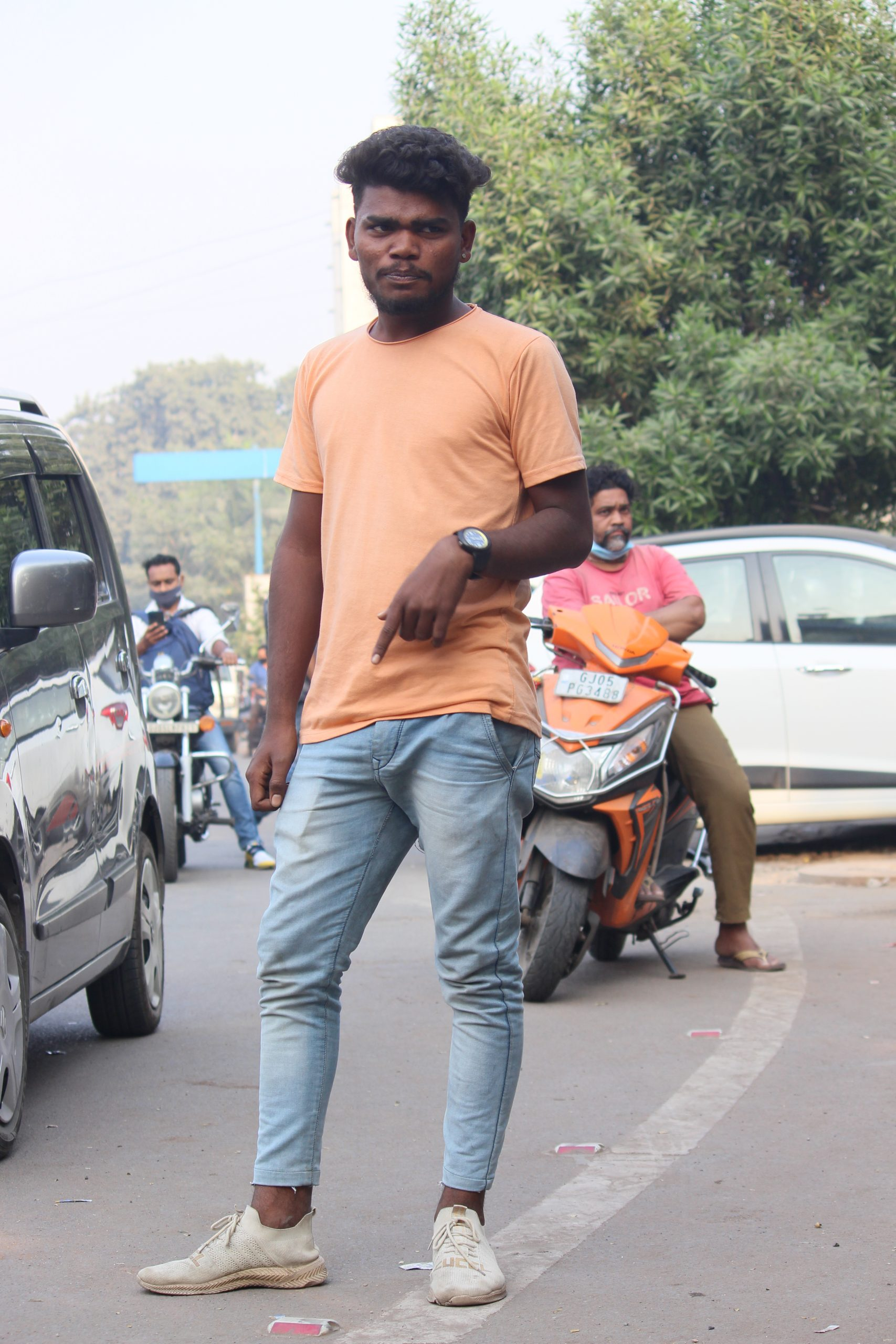 Boy posing on the road