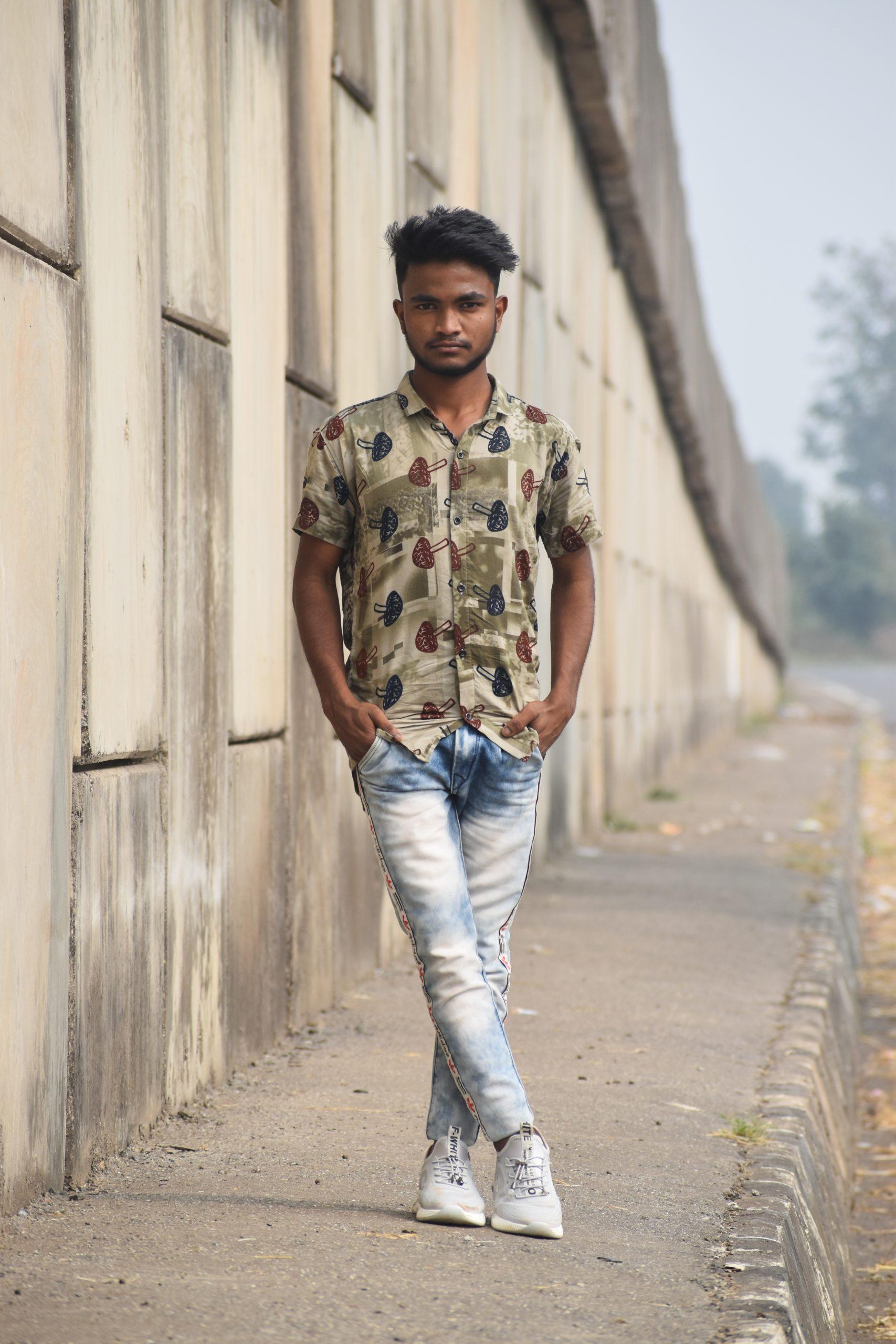 Boy posing Road side