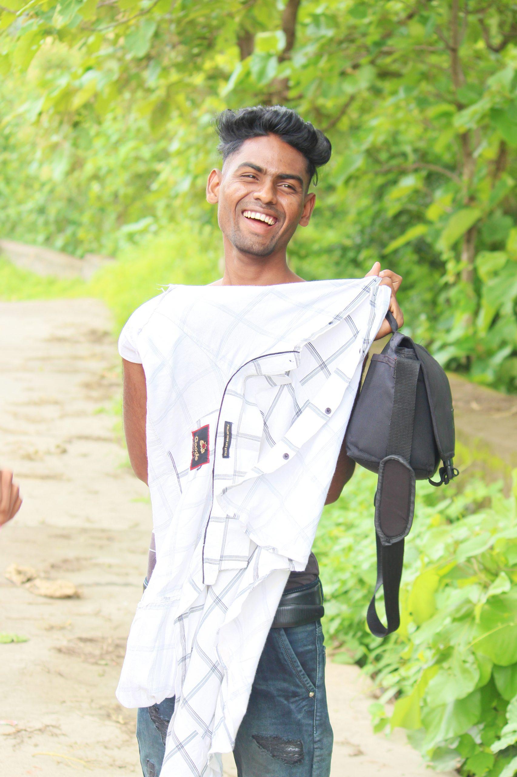 Boy posing and smiling