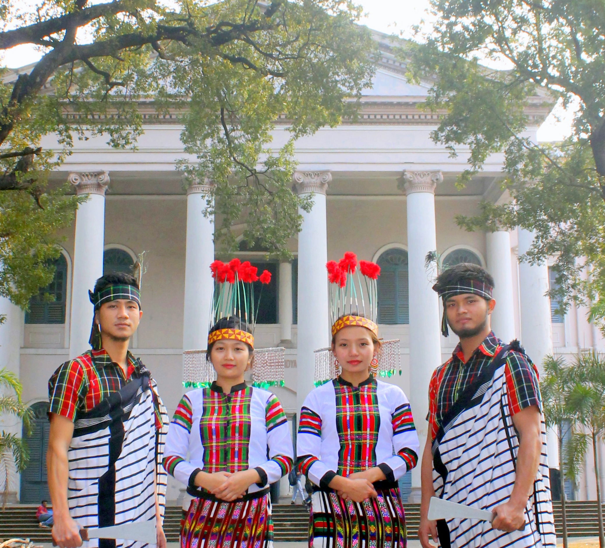 Boys and girls in traditional dress of Mizoram