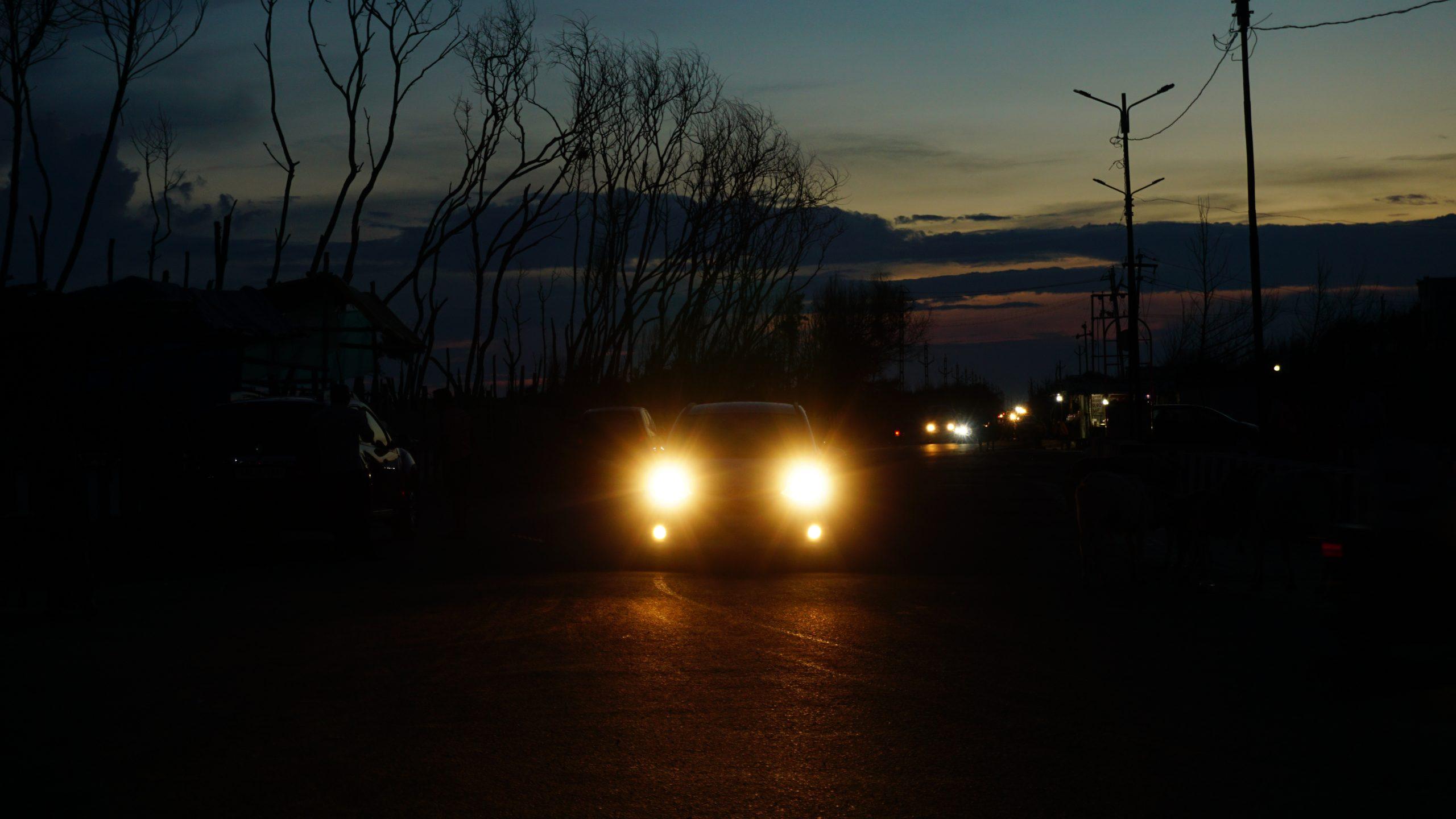 Cars head light in the dark