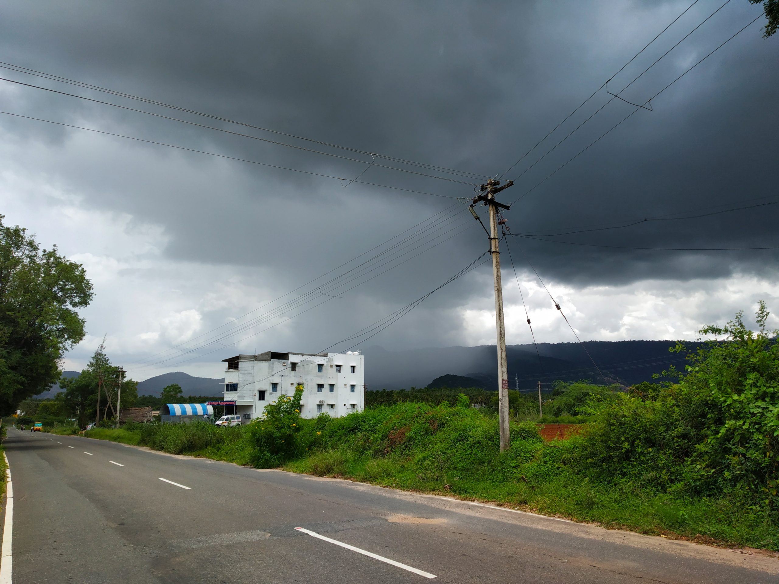 Cloudy sky and a road