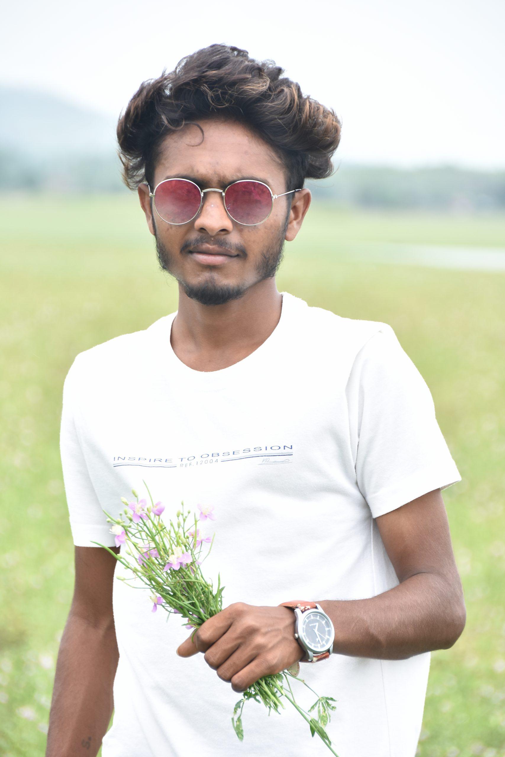 Boy posing in the farm