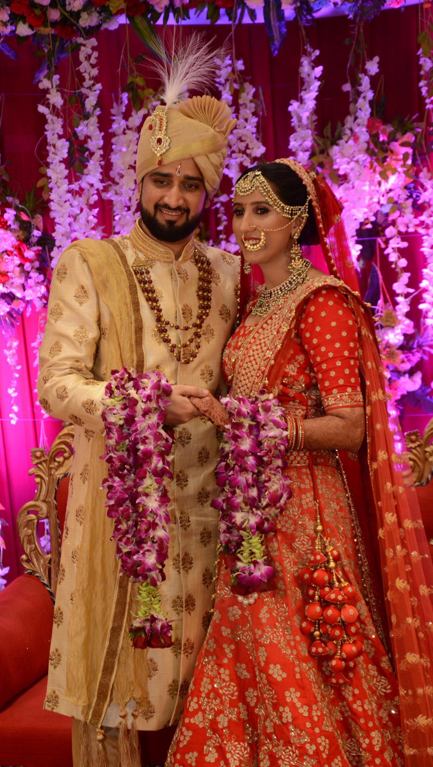 Couple posing on wedding
