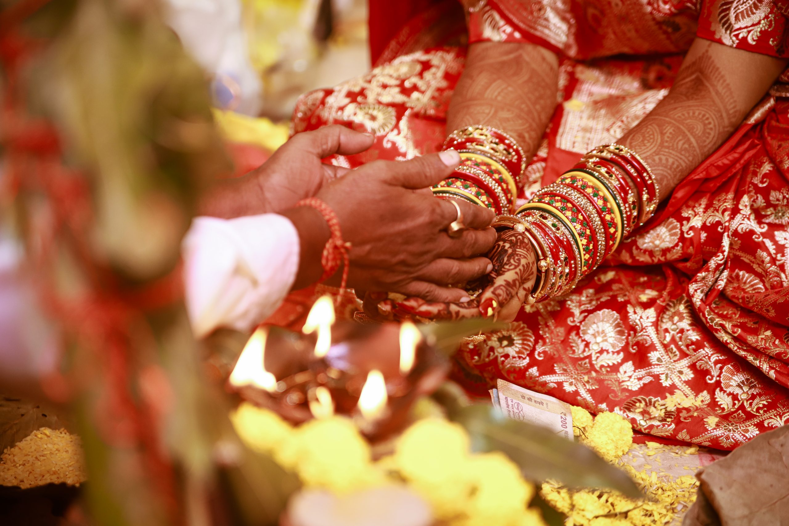 Couple's hand during wedding
