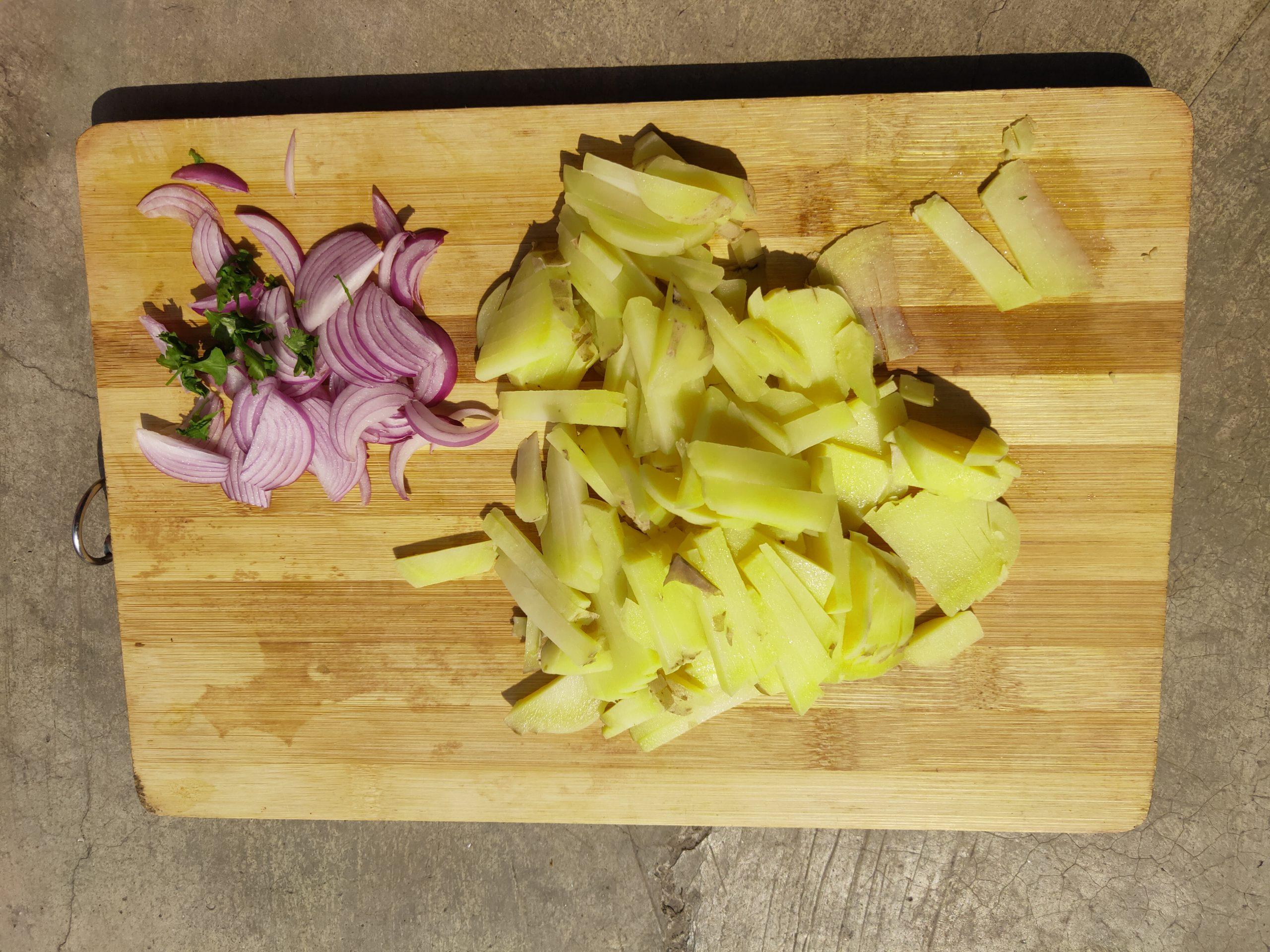 Cut vegetable on wood tray