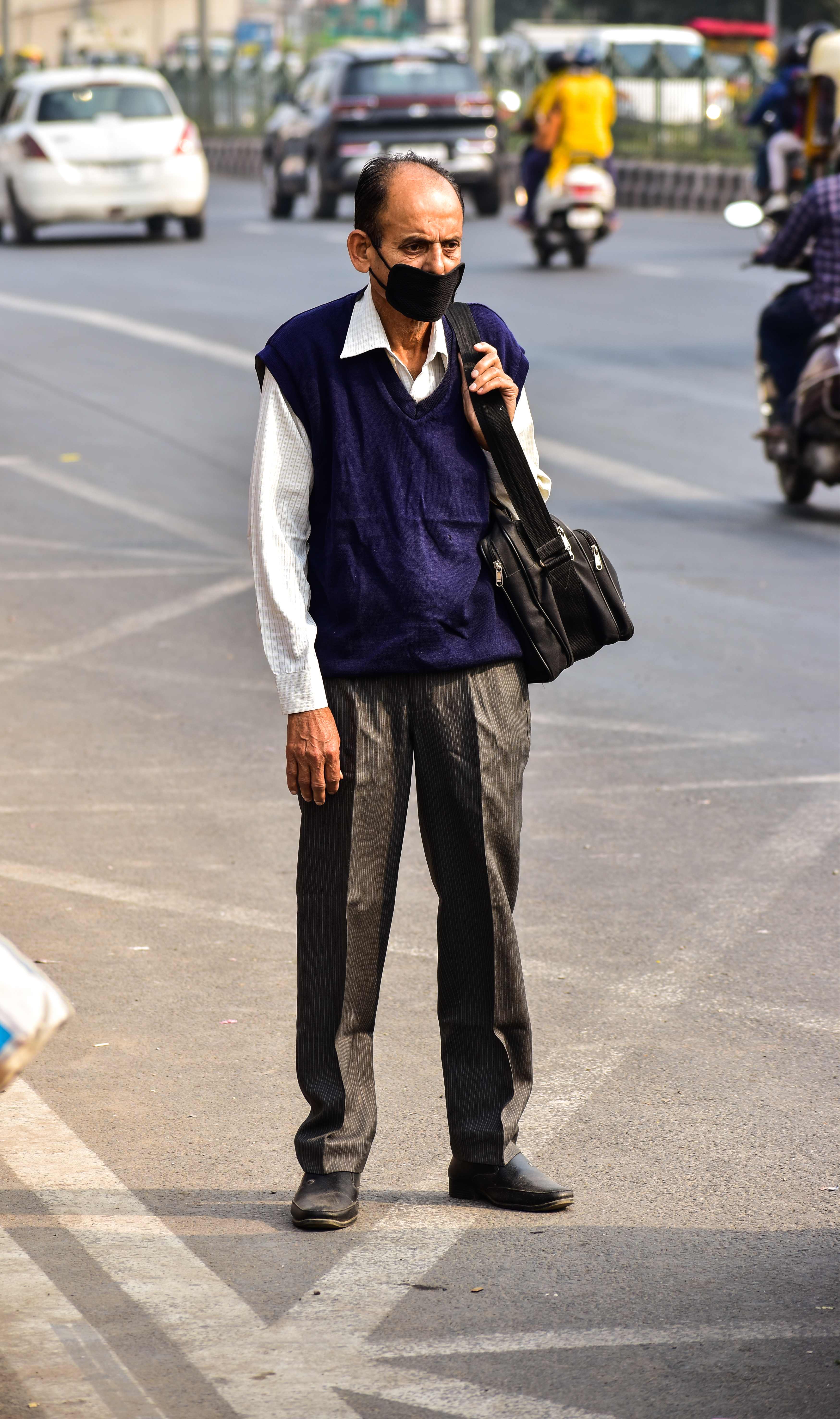 Old man on road