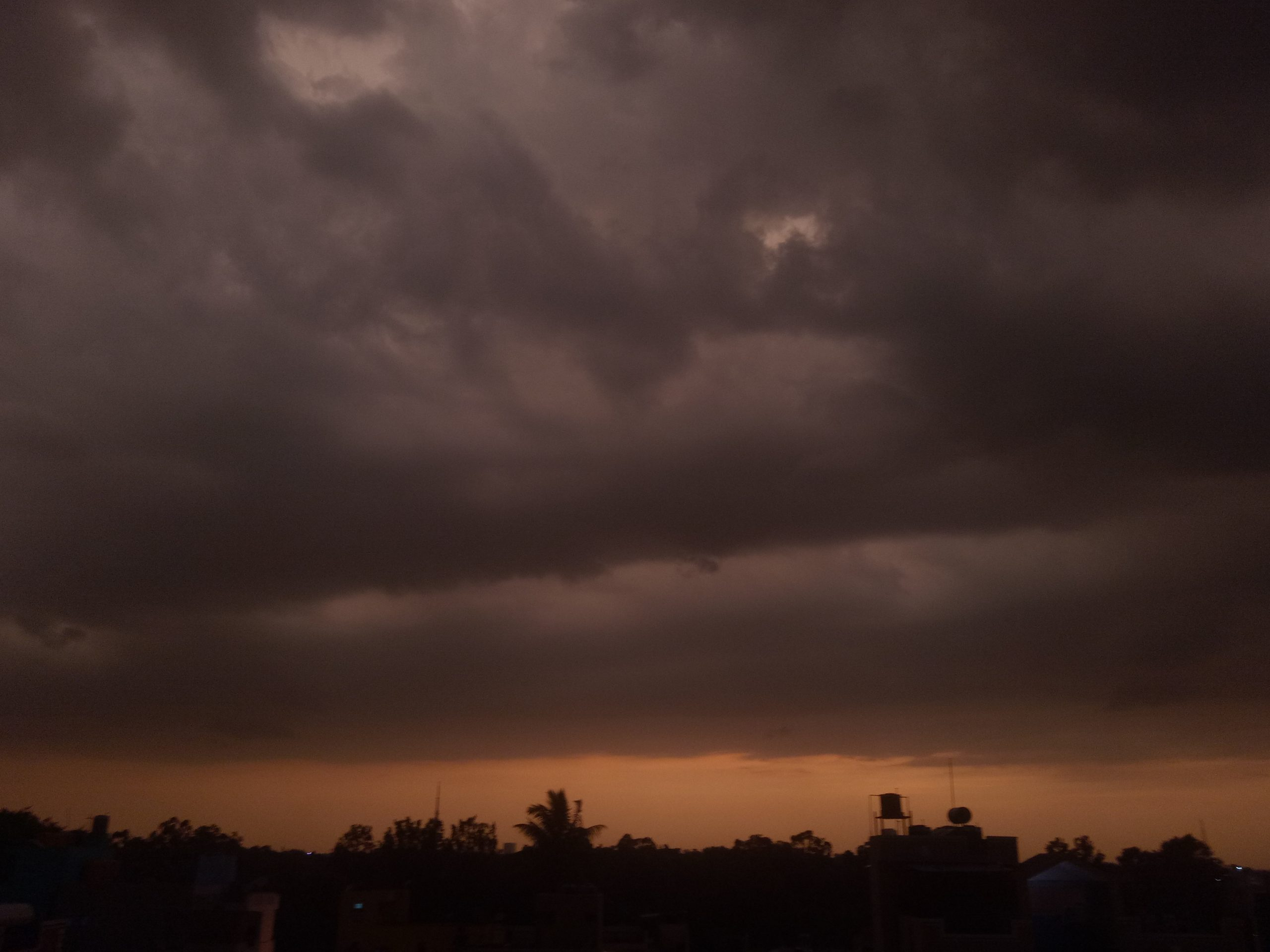 Dark clouds during evening