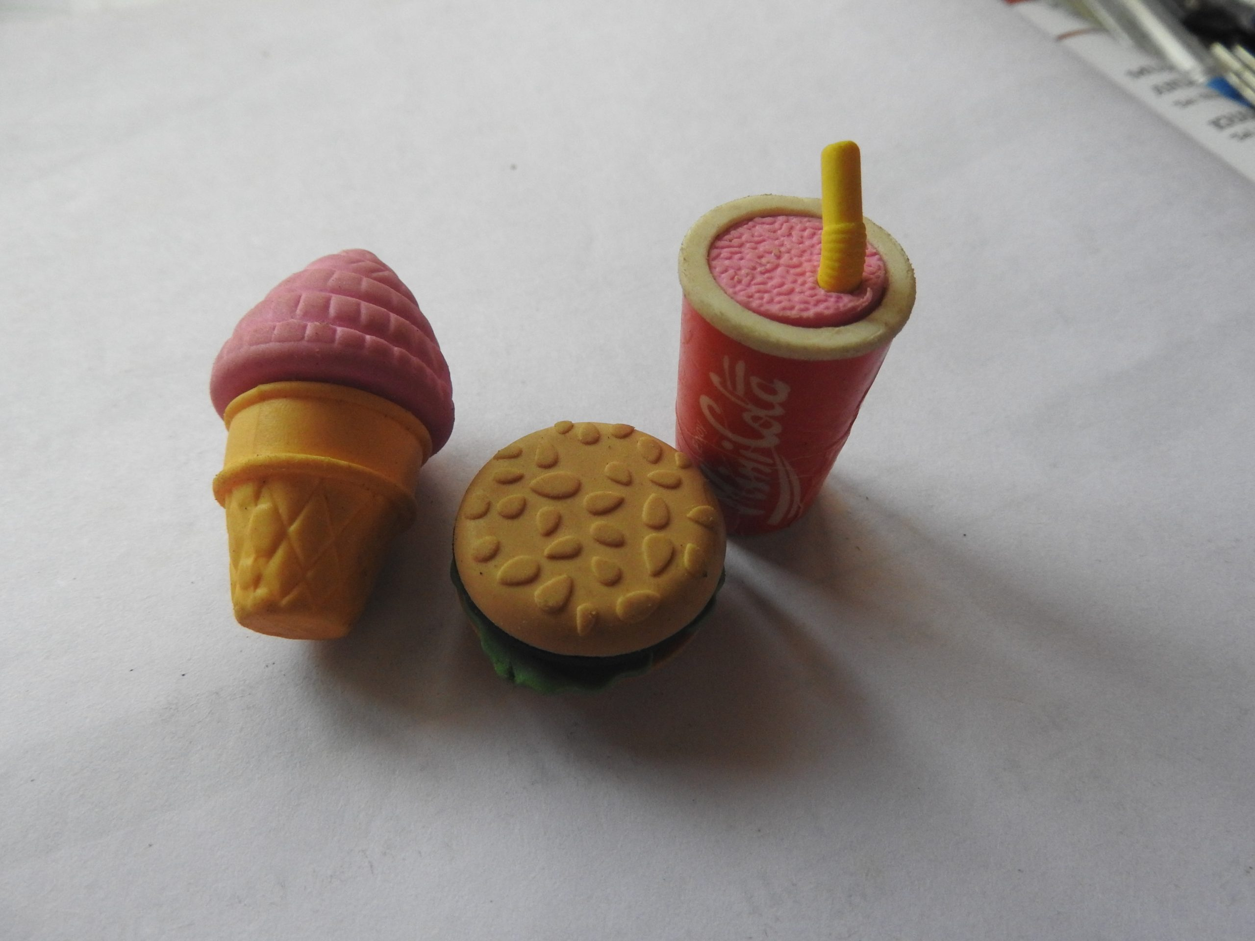 Eraser as food items