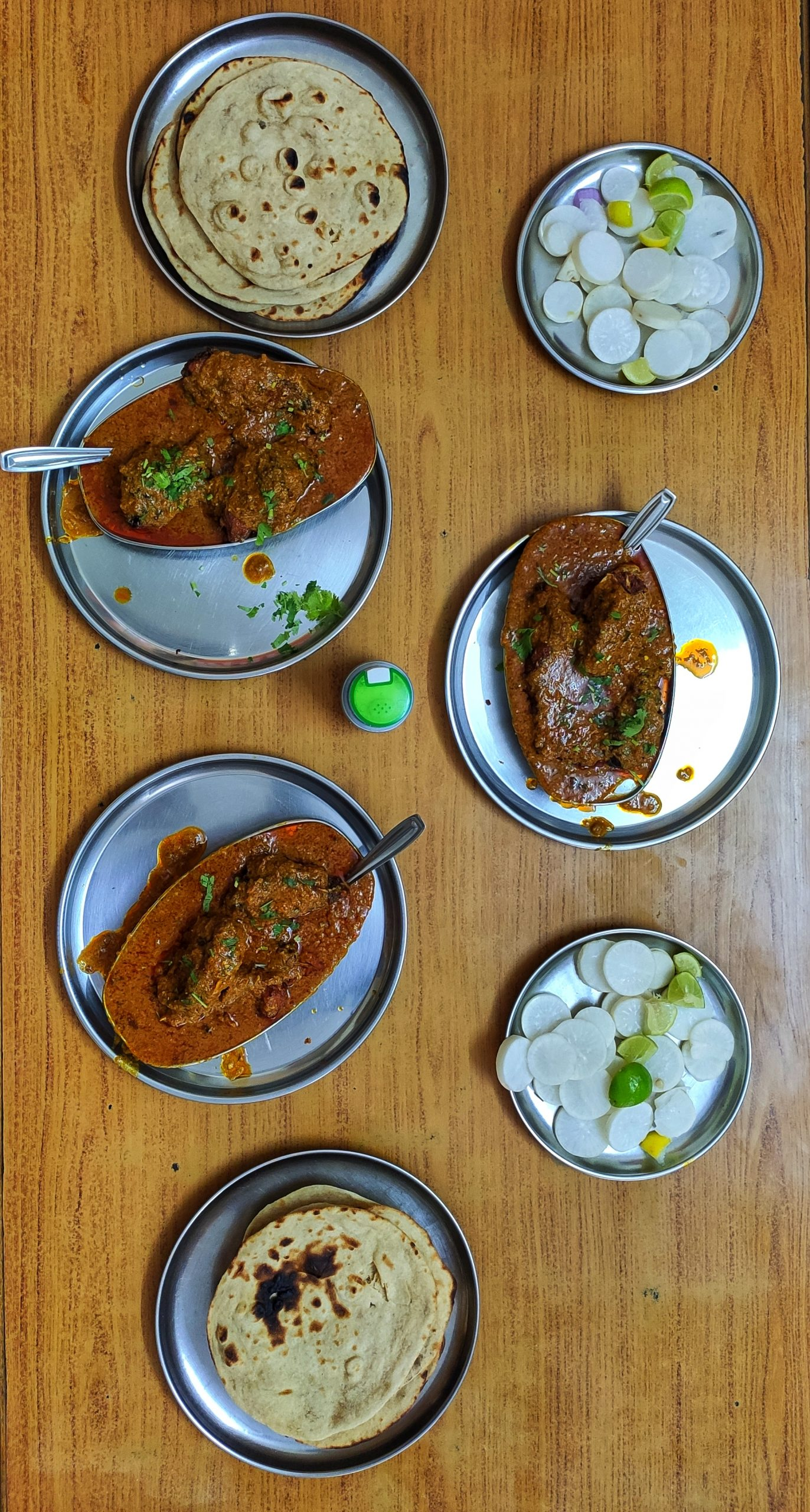 Fish curry plates on a table