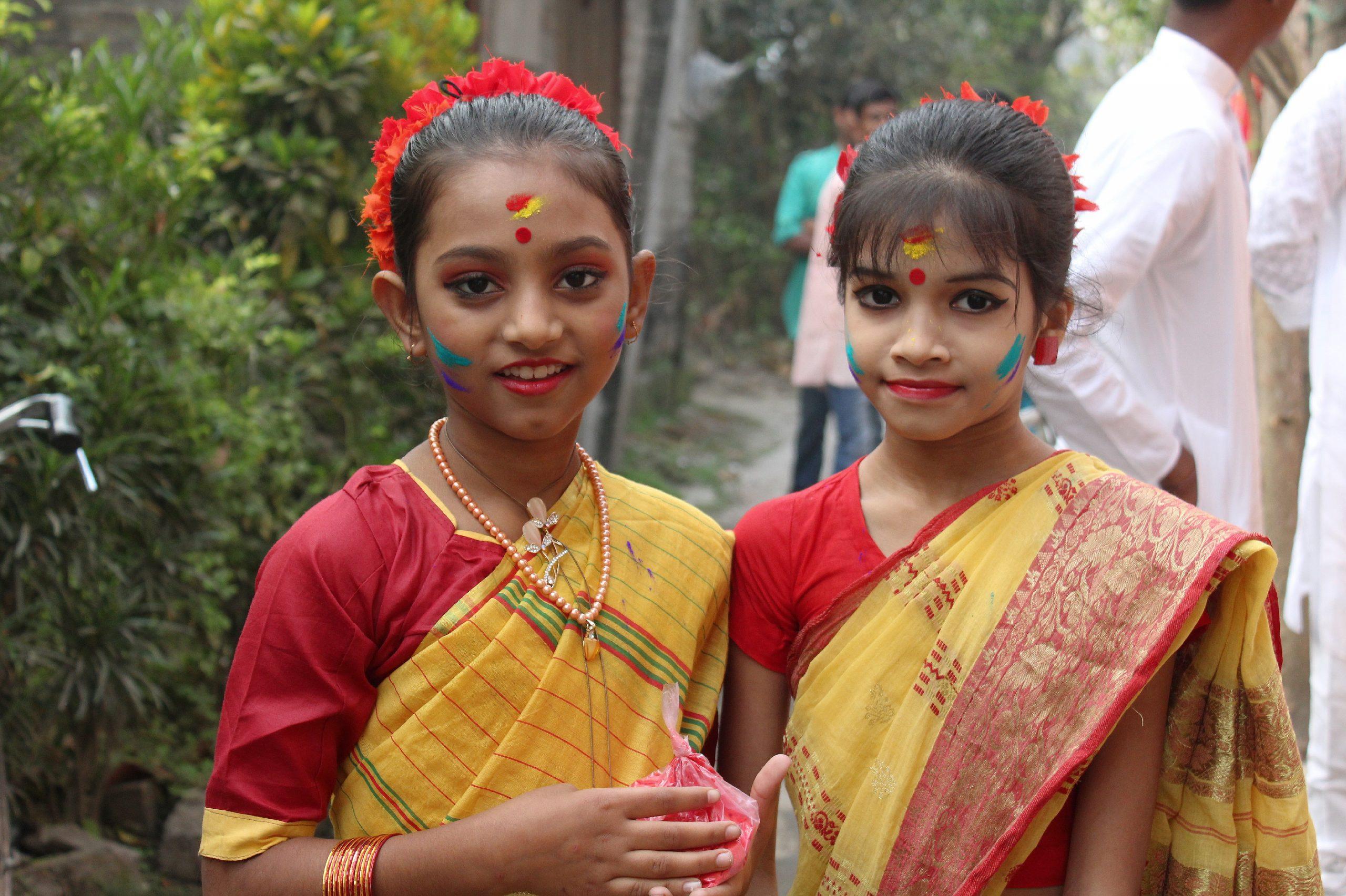 Girls during Holi festival