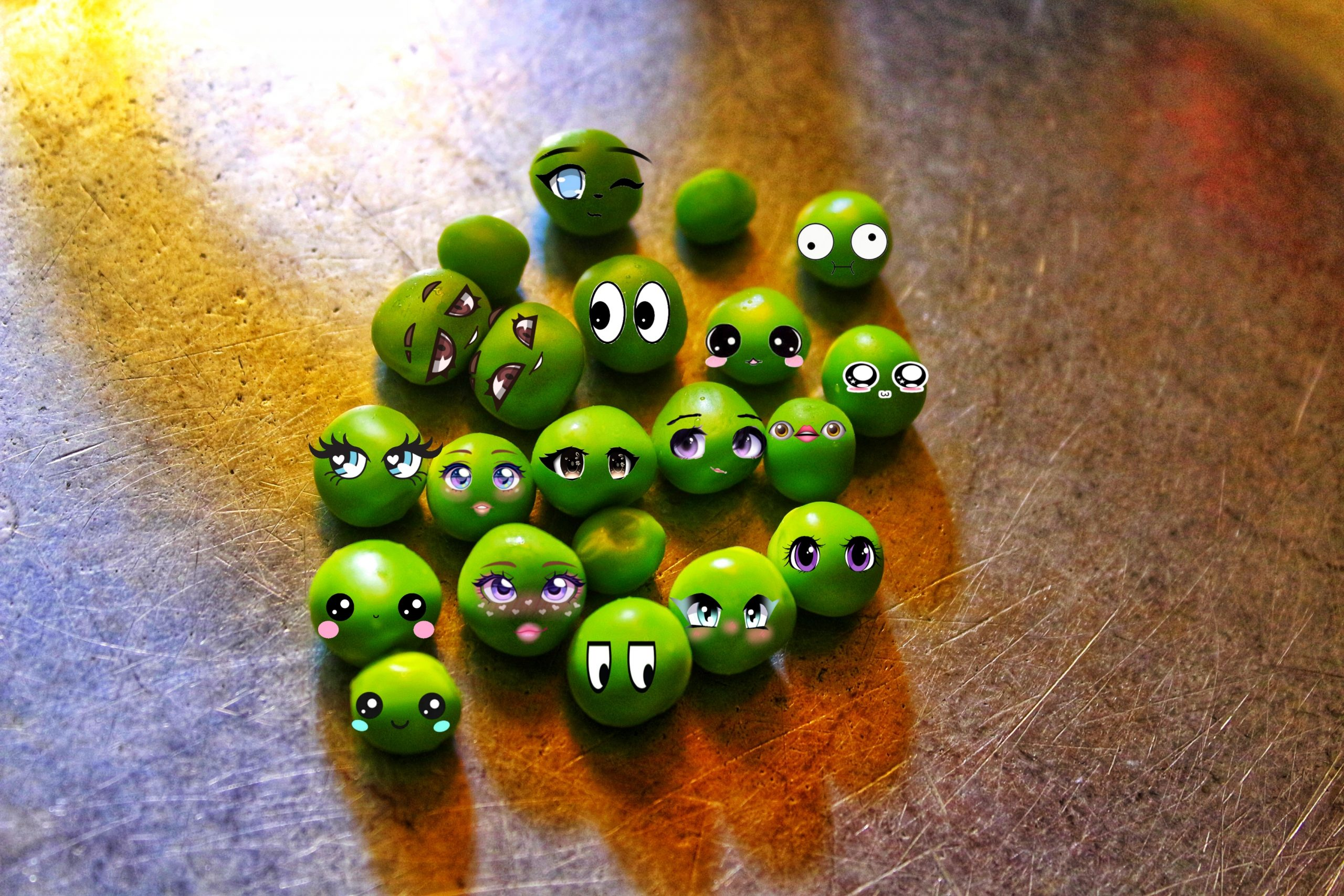 Human face expression on green peas