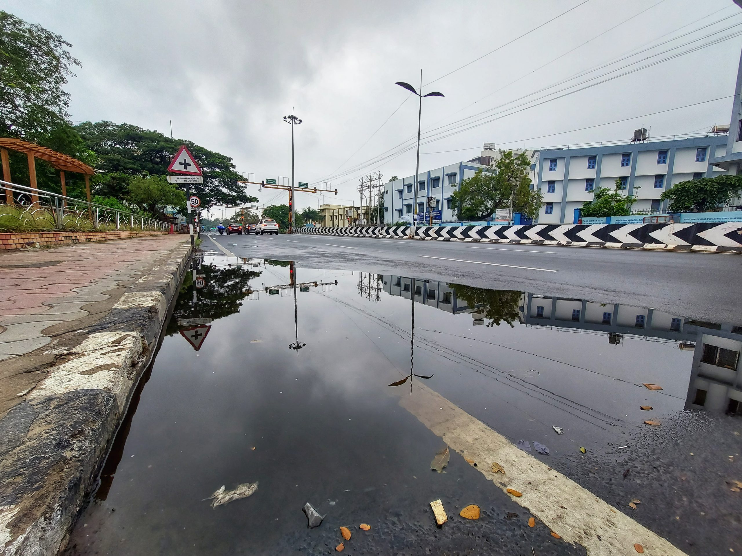 Rain water on road