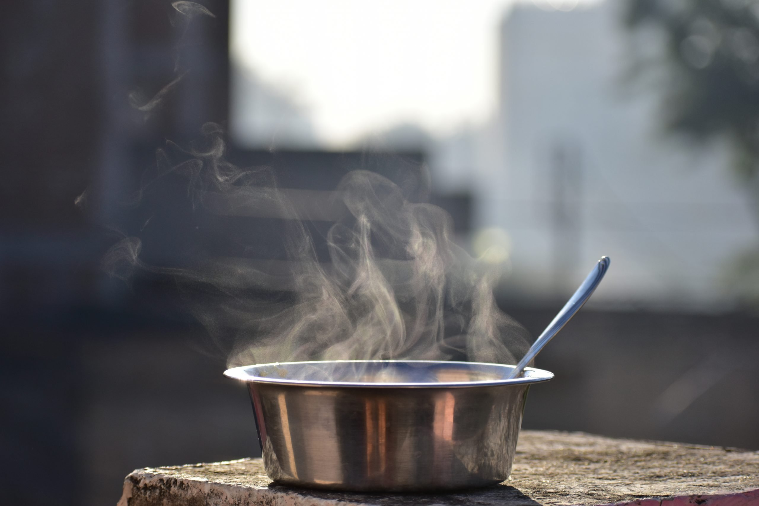 Hot food in a bowl