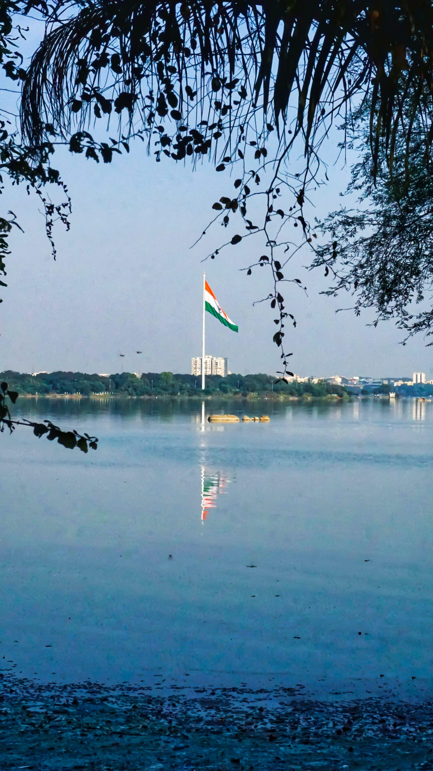 Indian Flag reflection in the river