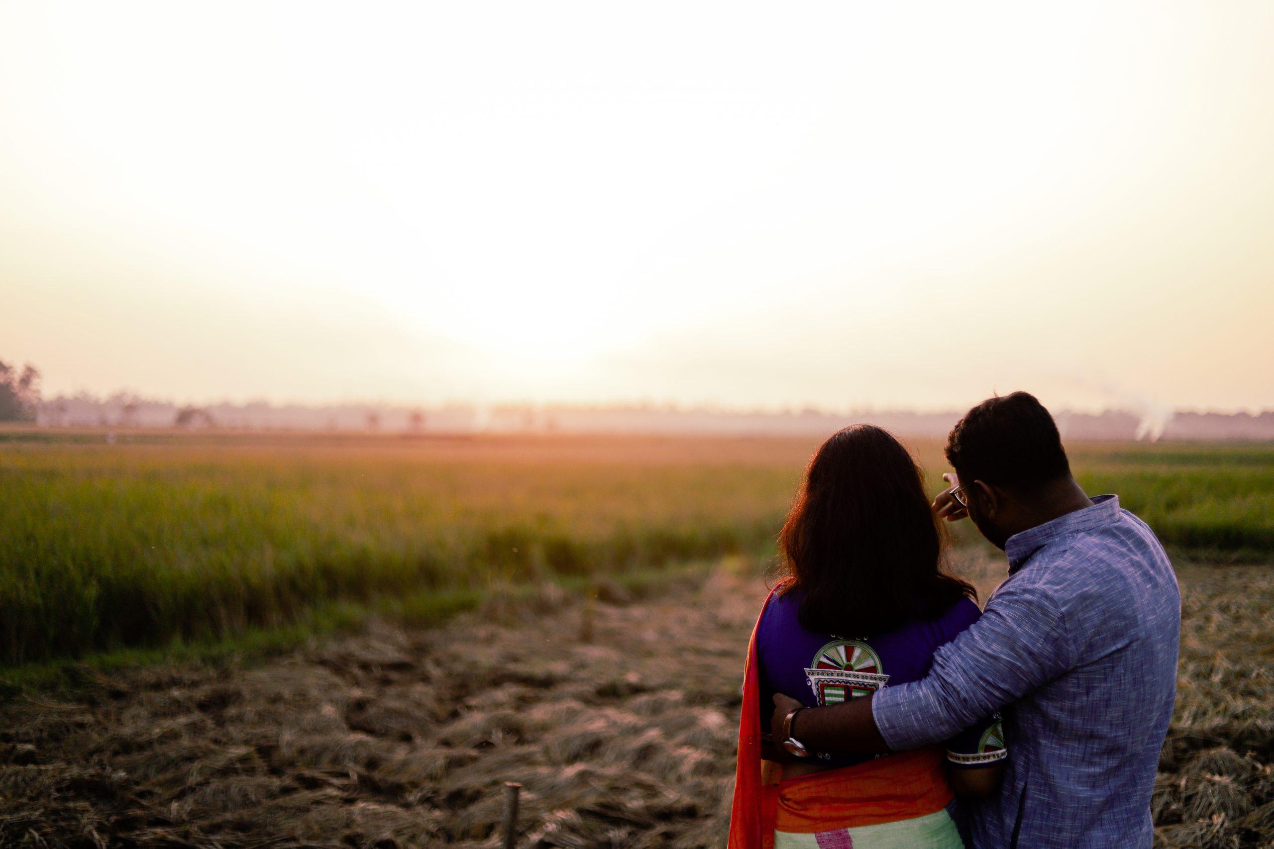 Couple posing in the farm