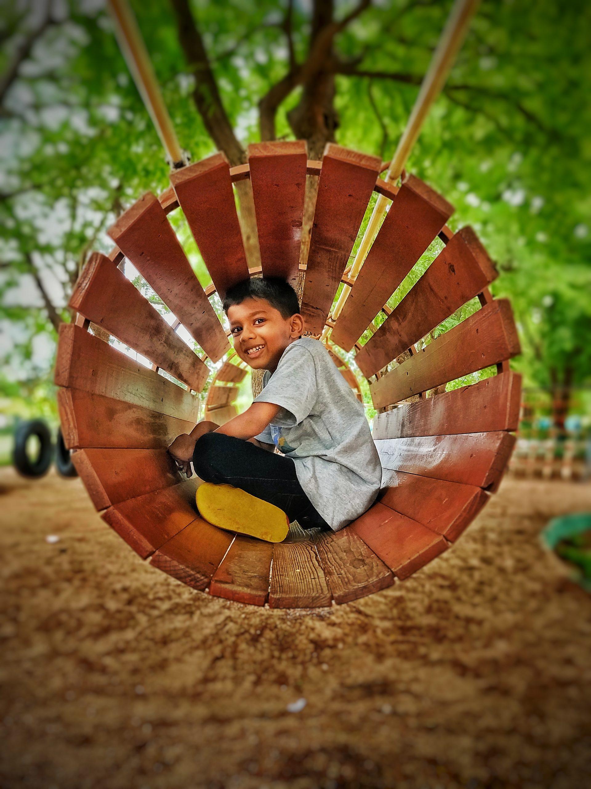 Little boy in a sphere