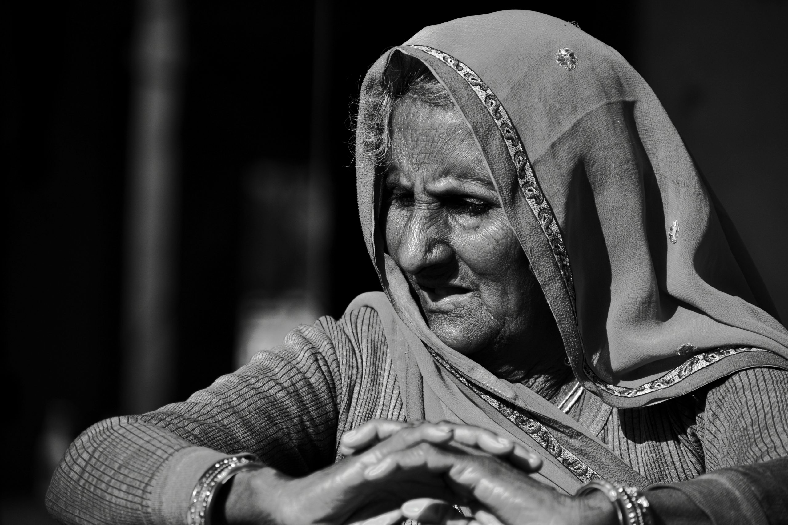 Black and White landscape of a old women