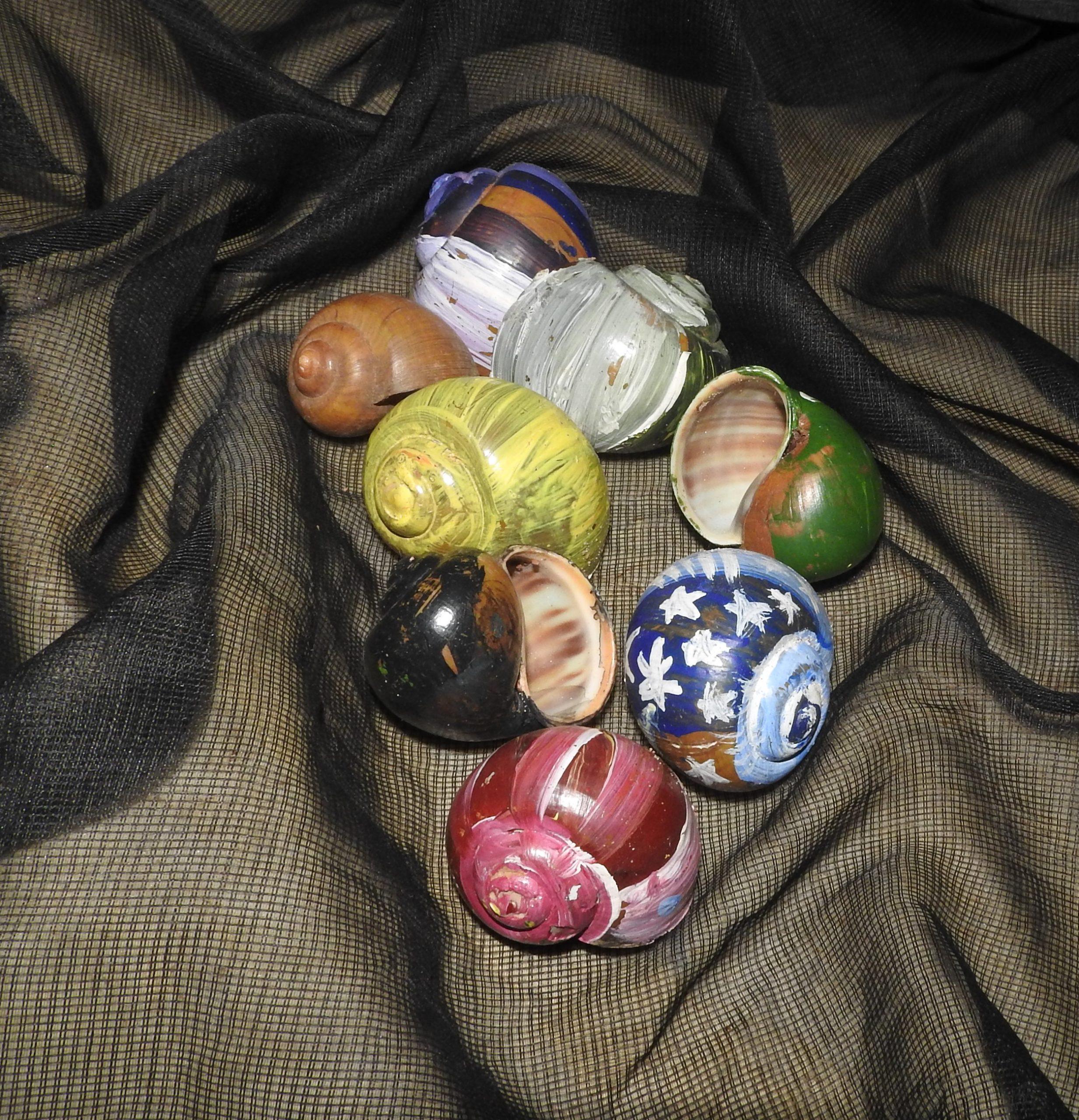 Painted Seashells on bed