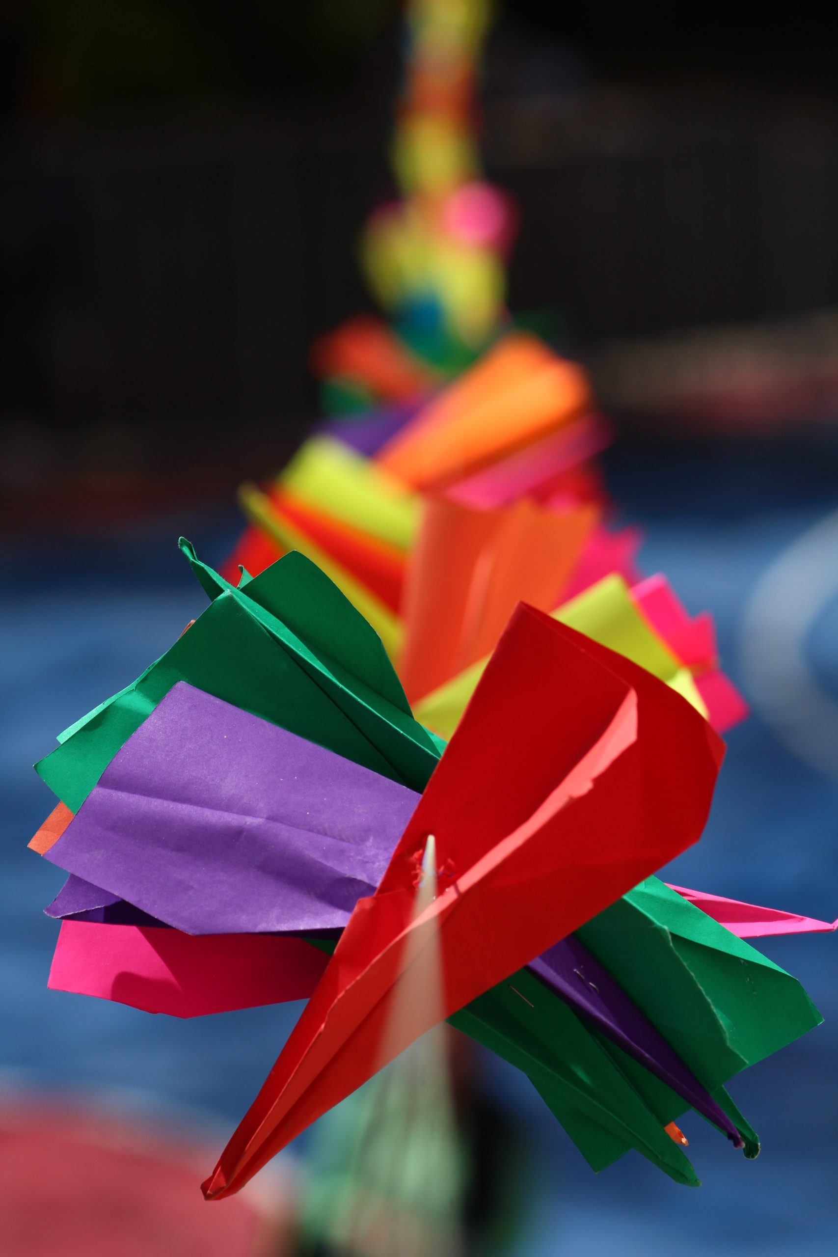 Paper rockets on a string
