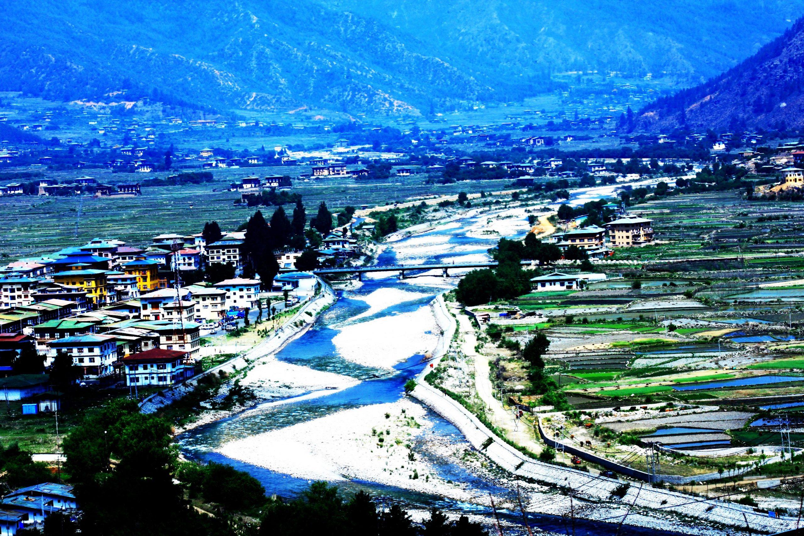Paro chu river flowing in Paro, Bhutan
