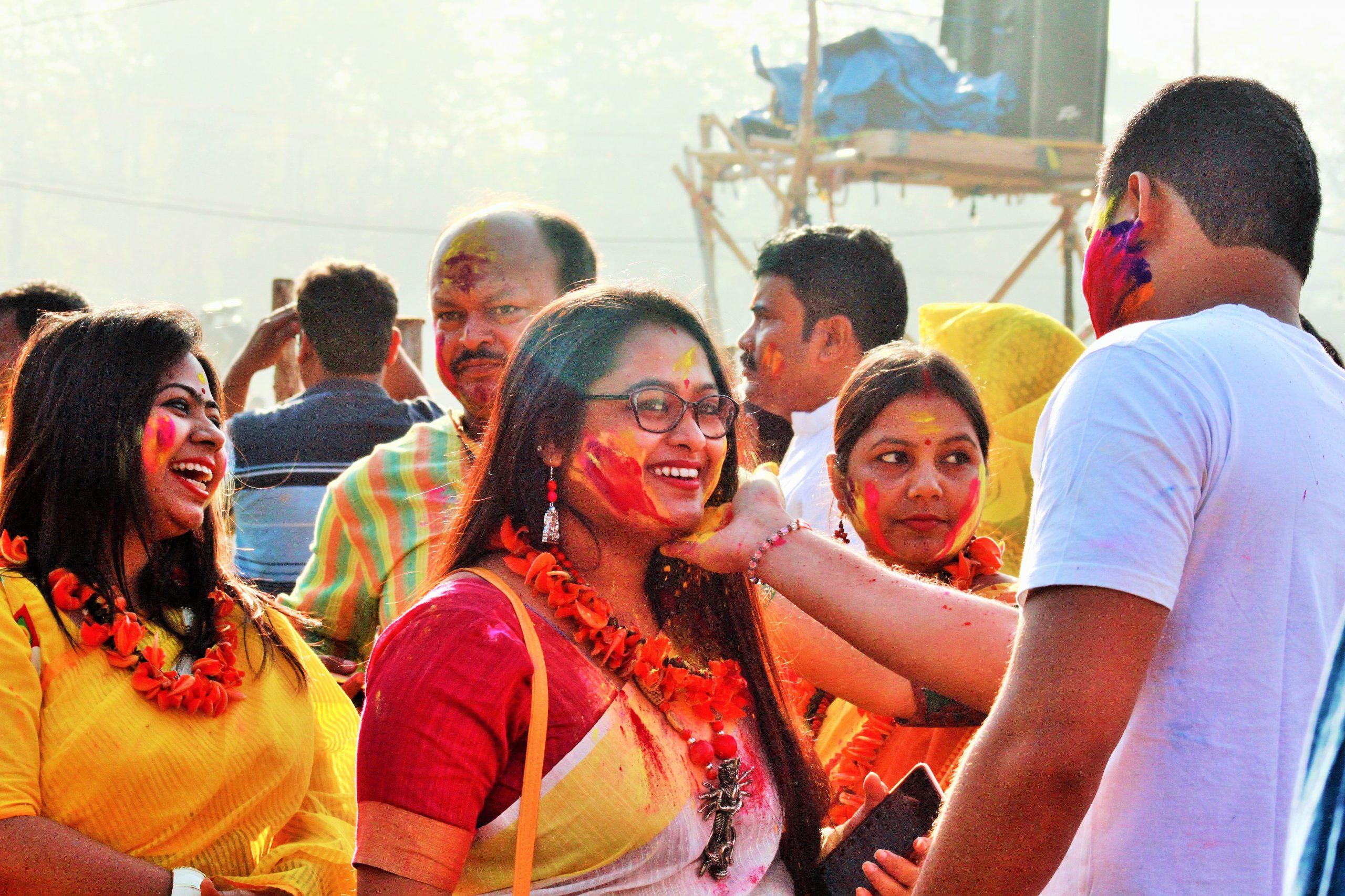 People celebrating Holi festival