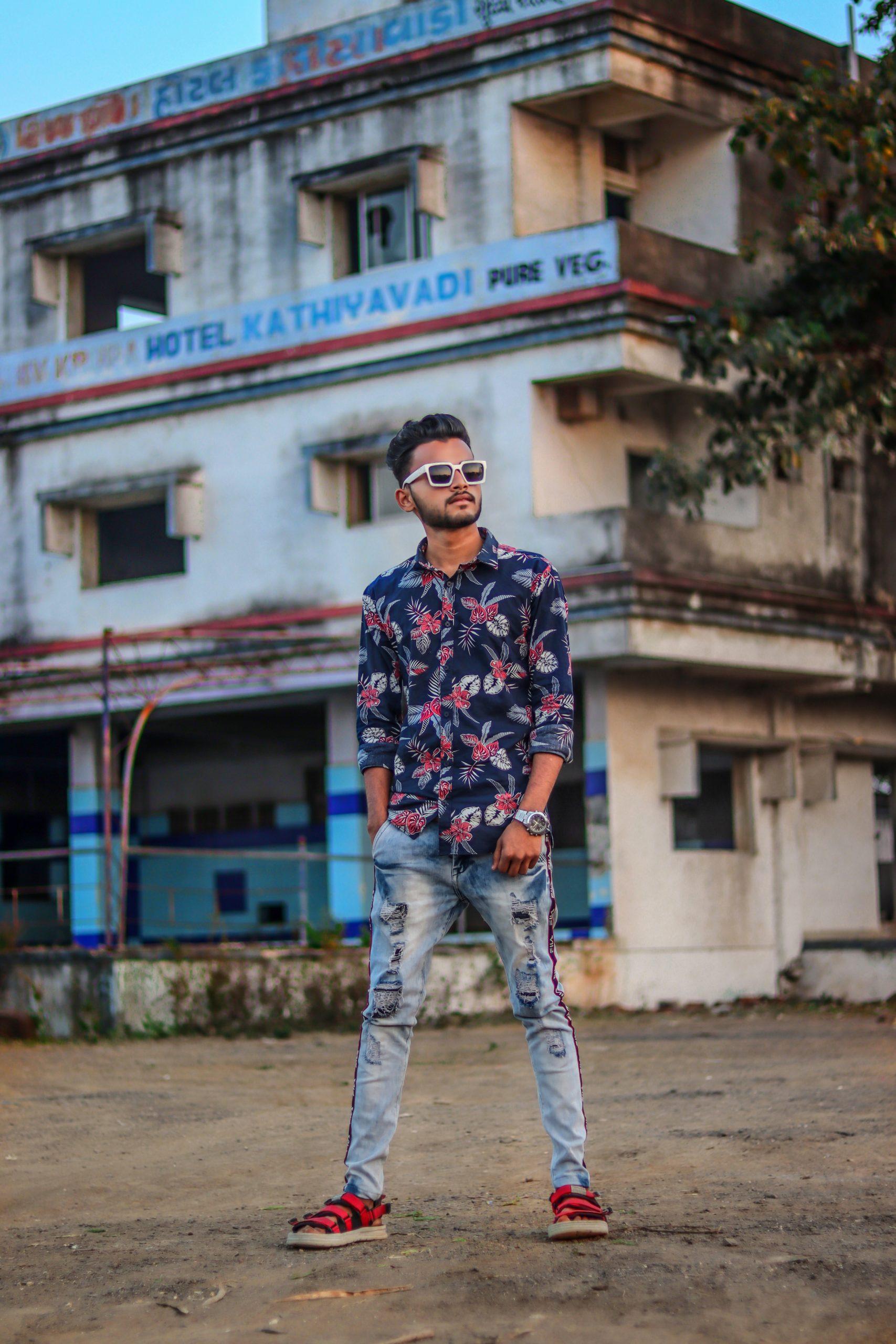 A boy near a building