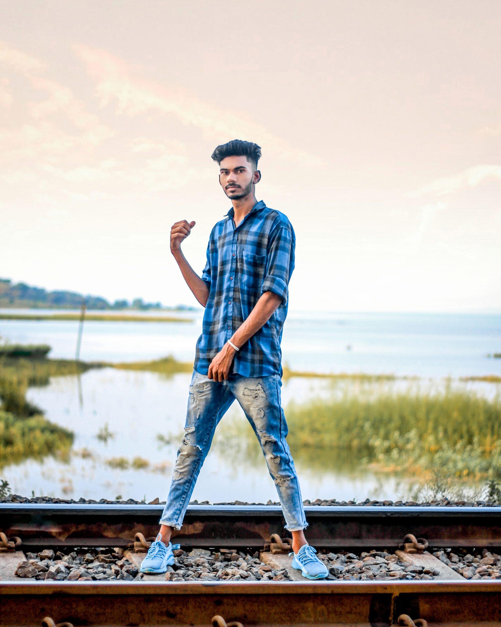 A boy on railway line