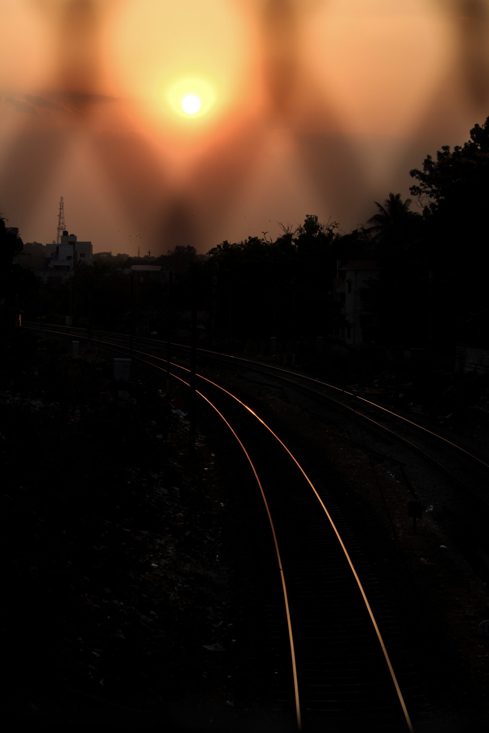 Railway tracks during evening