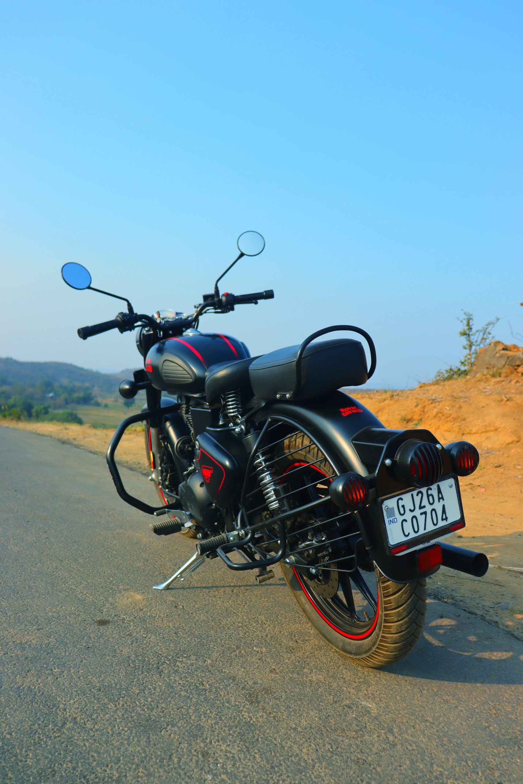 Royal Enfield standing on the road