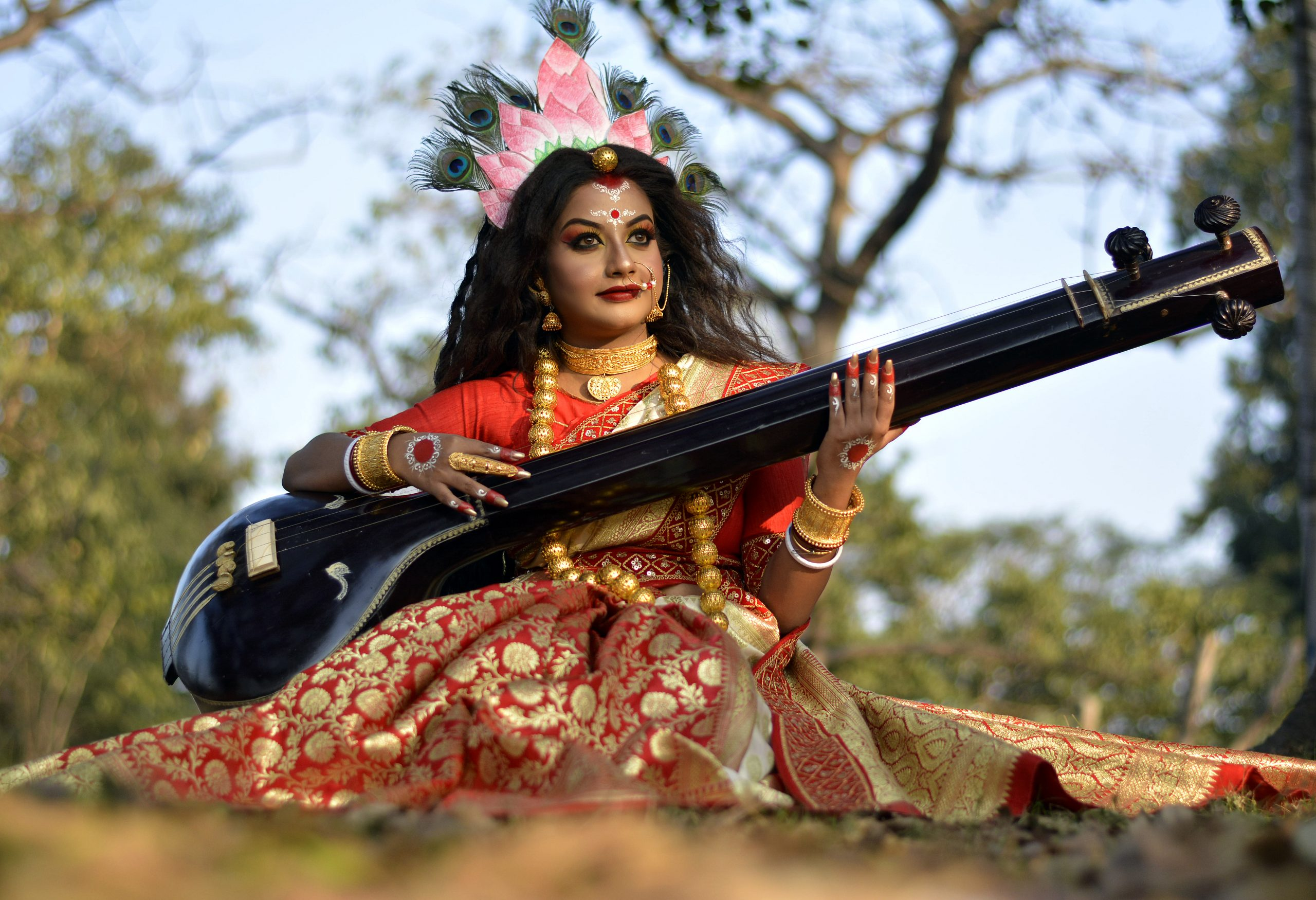 A woman in Hindu goddess makeover