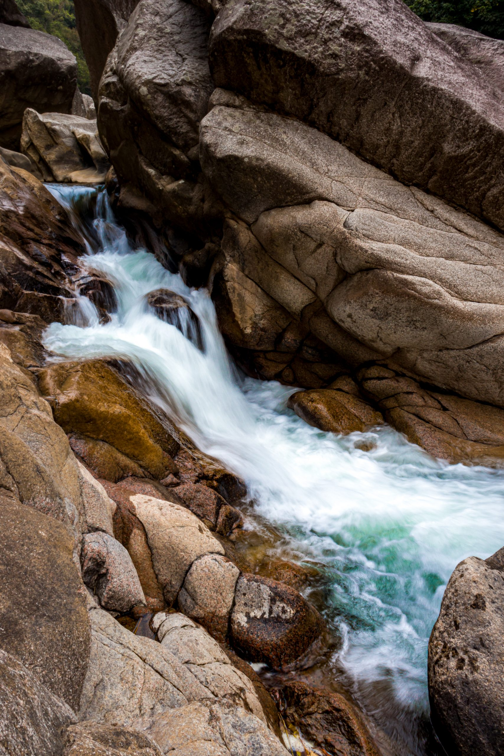 Water flowing through rocks