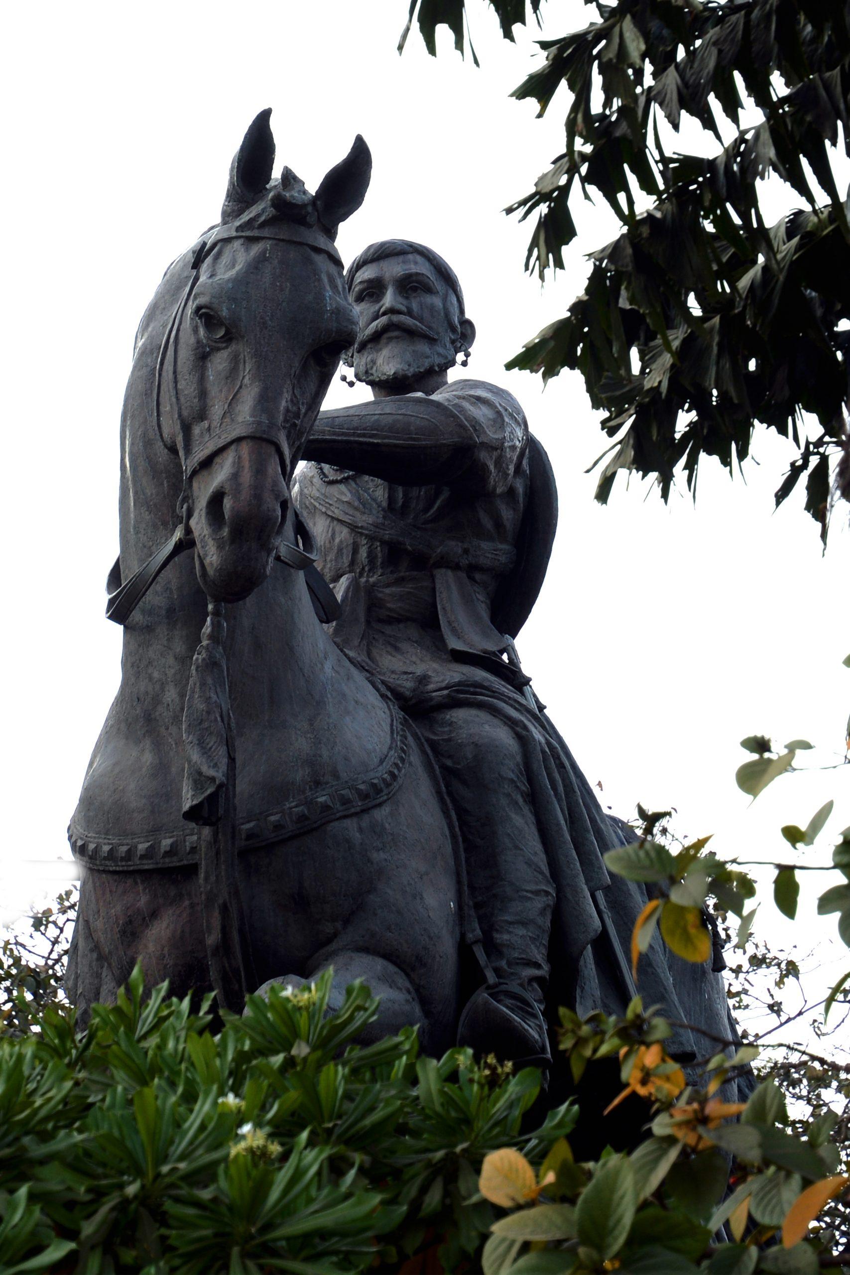 Statue of king Shivaji in a park