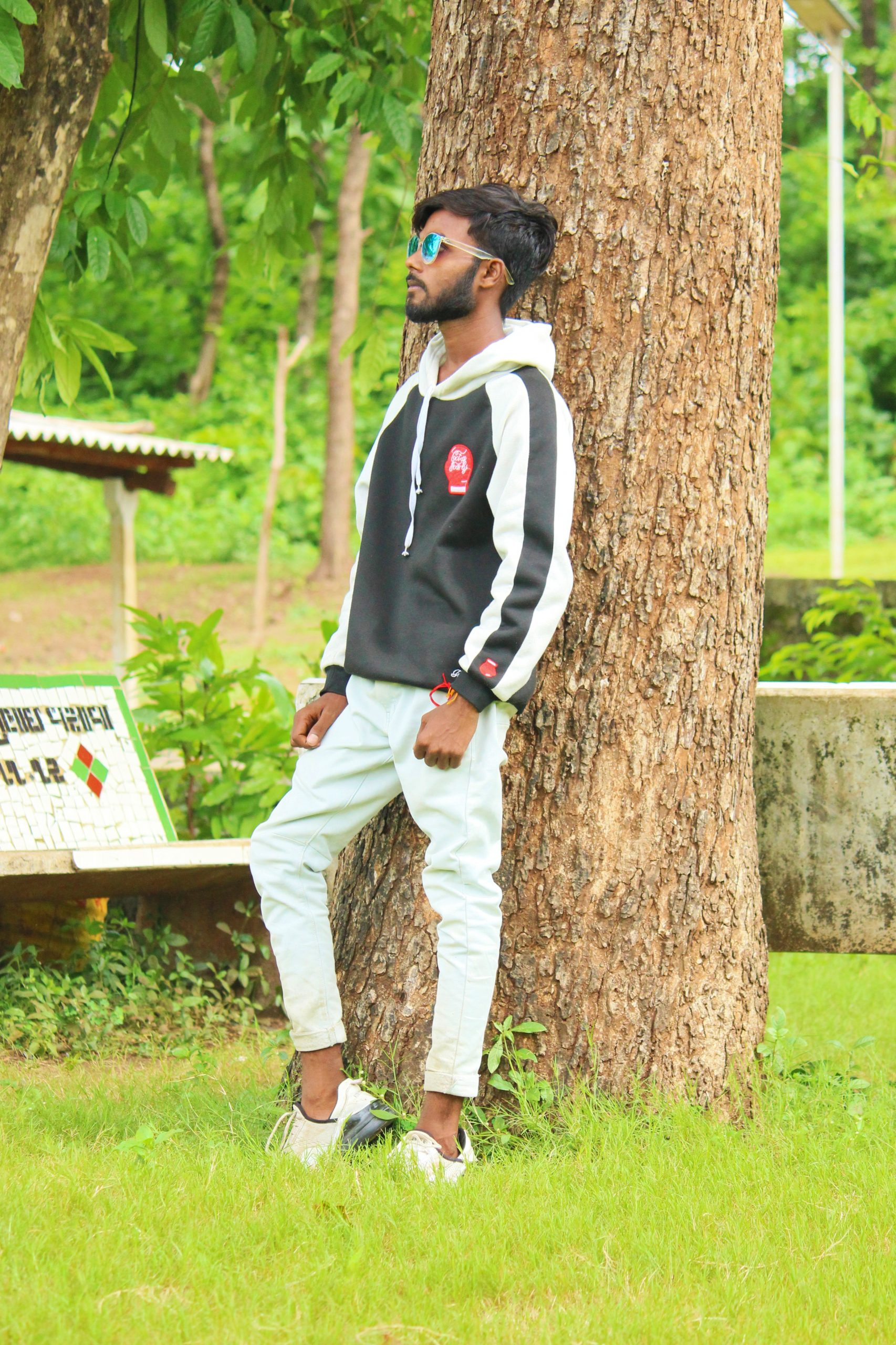Stylish model posing in Forest