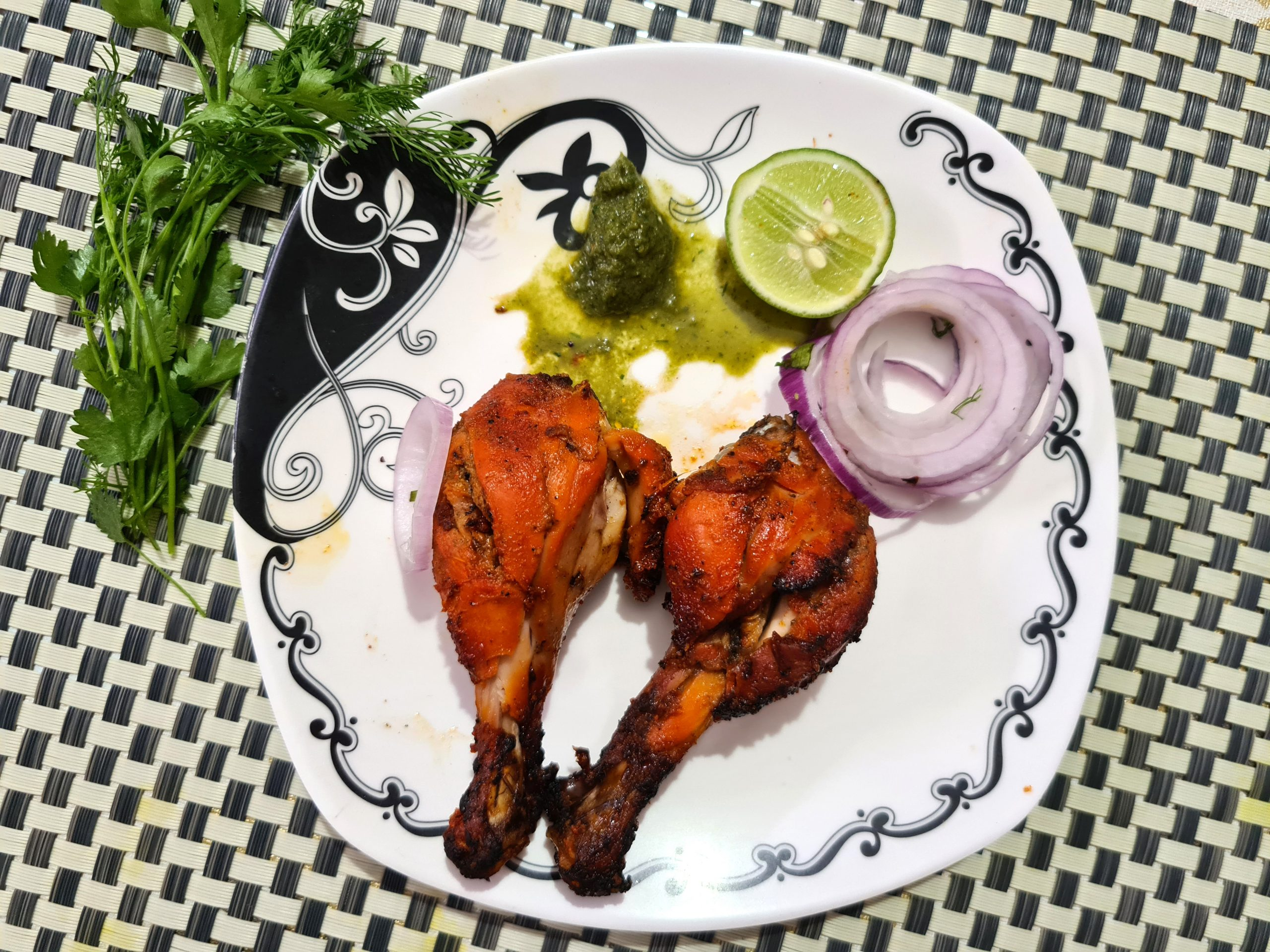 Tandoori Chicken dish in the plate