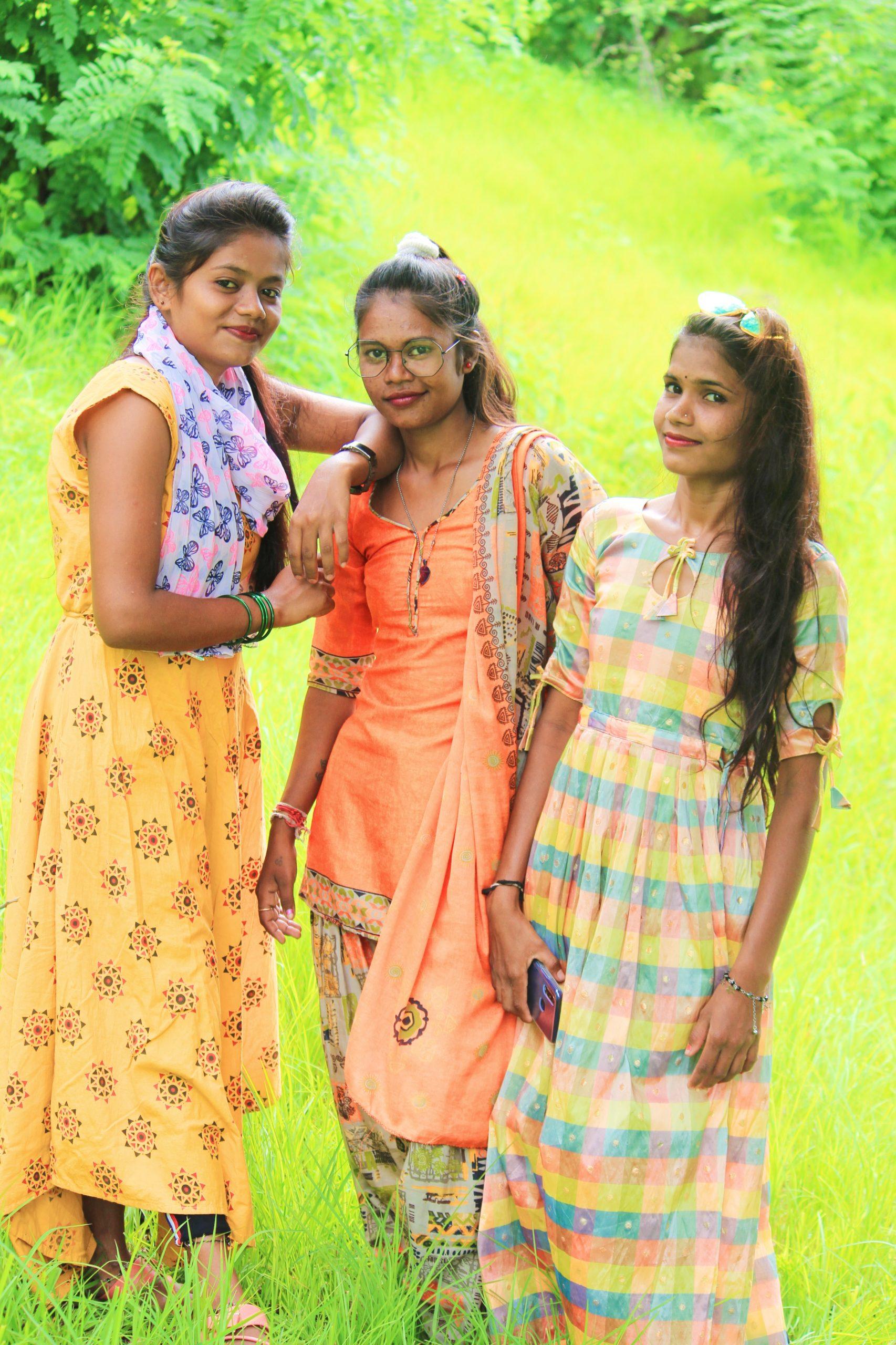 Girls posing in the farm