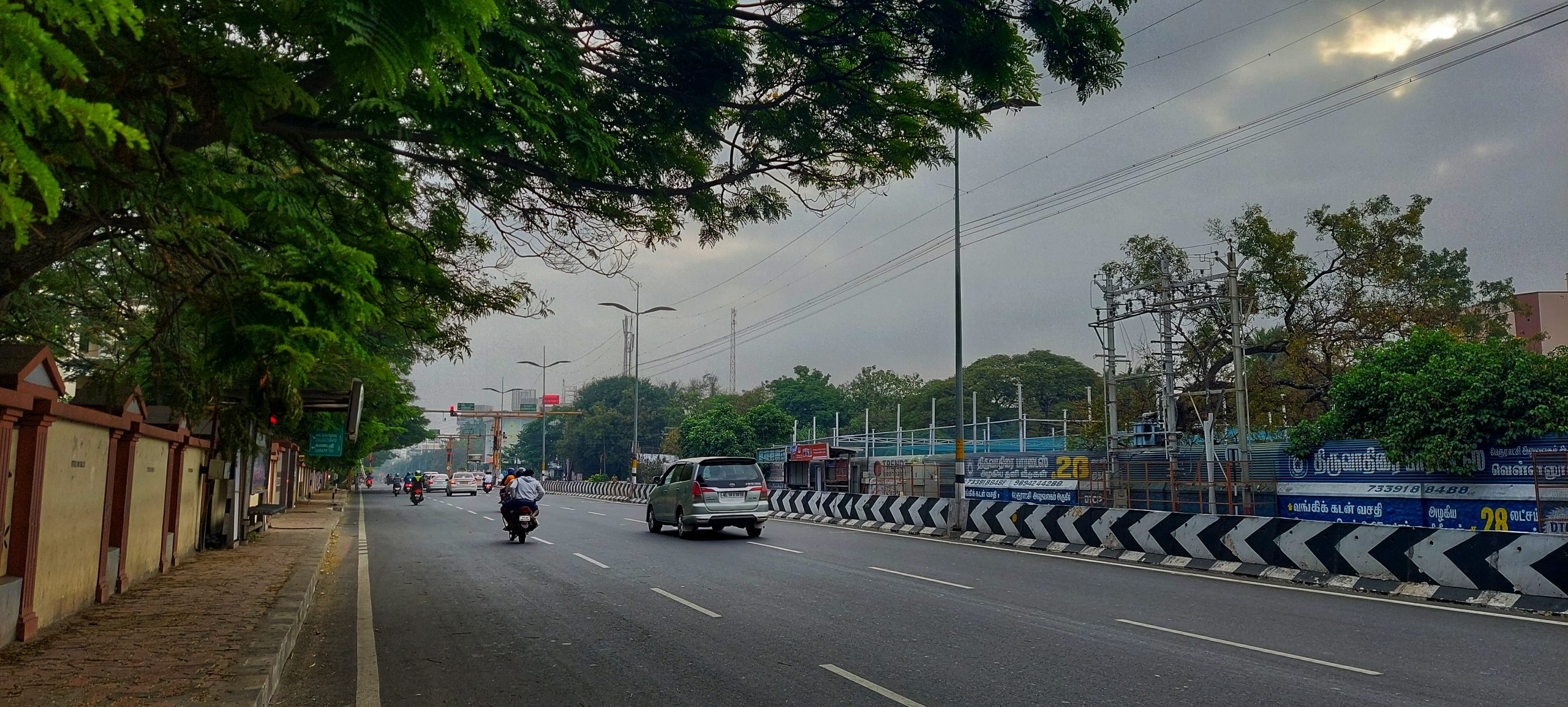 Traffic on a road in early morning